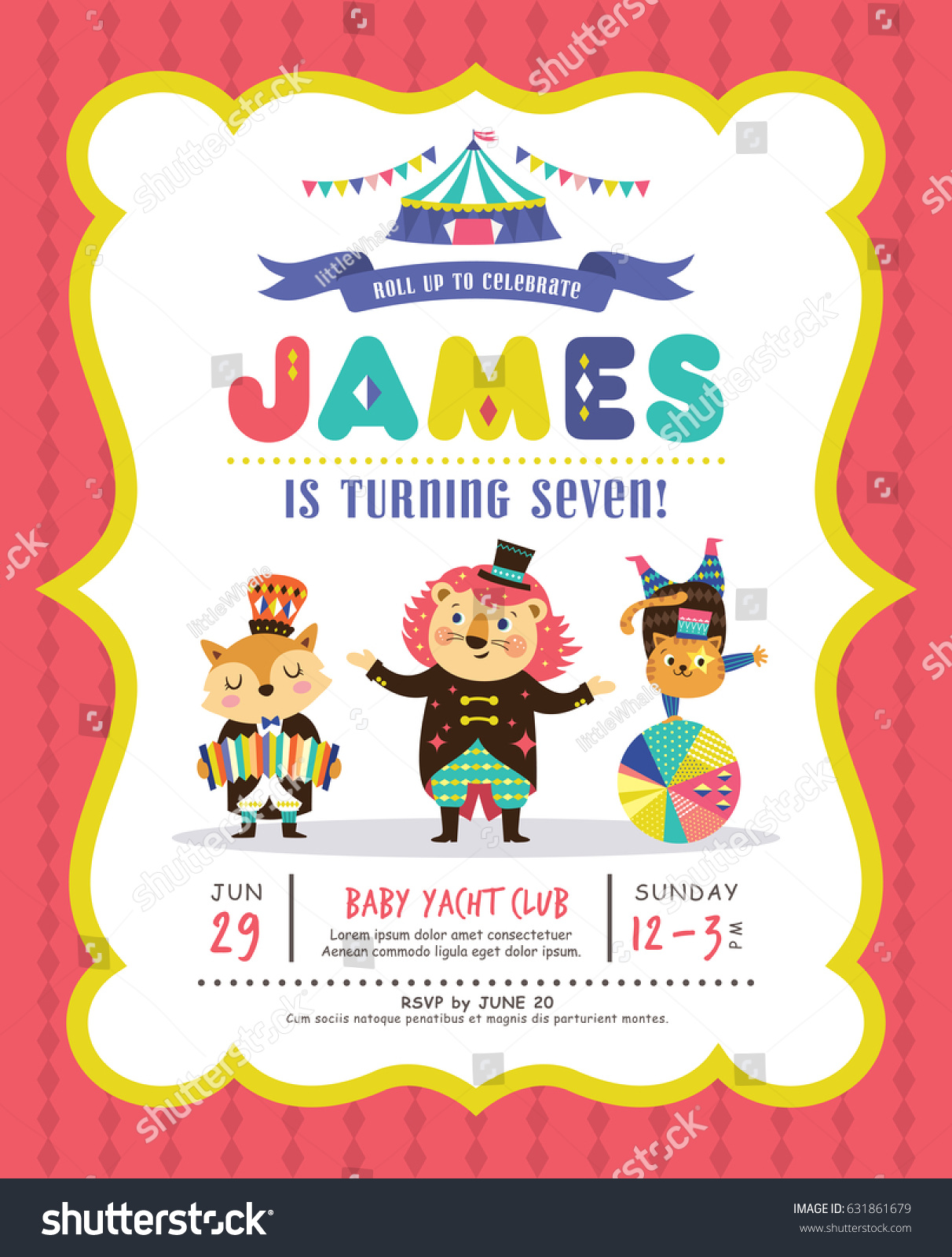 Kids birthday party invitation card circus stock vector 631861679 kids birthday party invitation card with circus theme stopboris Gallery