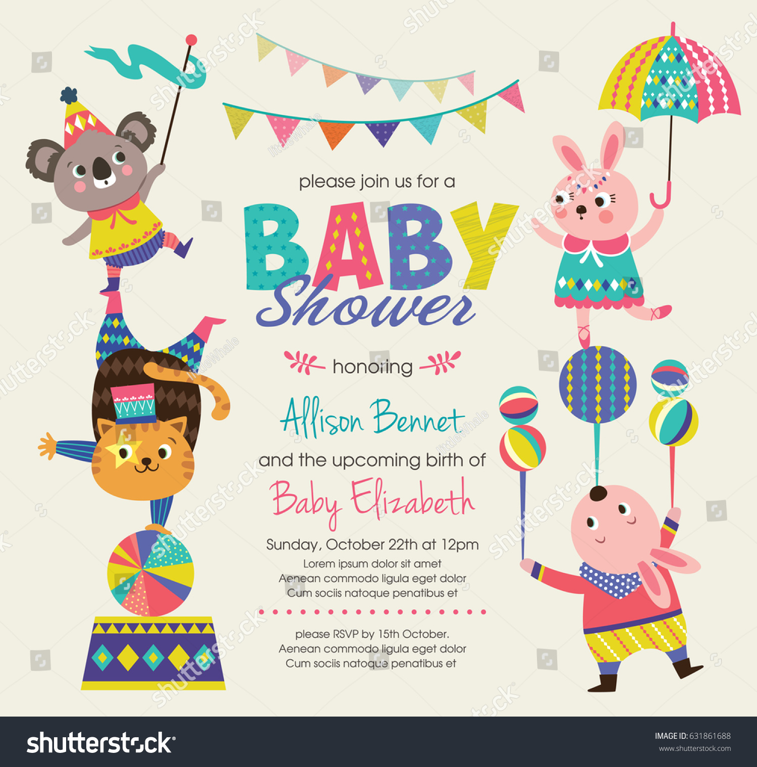 Baby Shower Invitation Card Circus Theme Stock Vector 631861688 ...