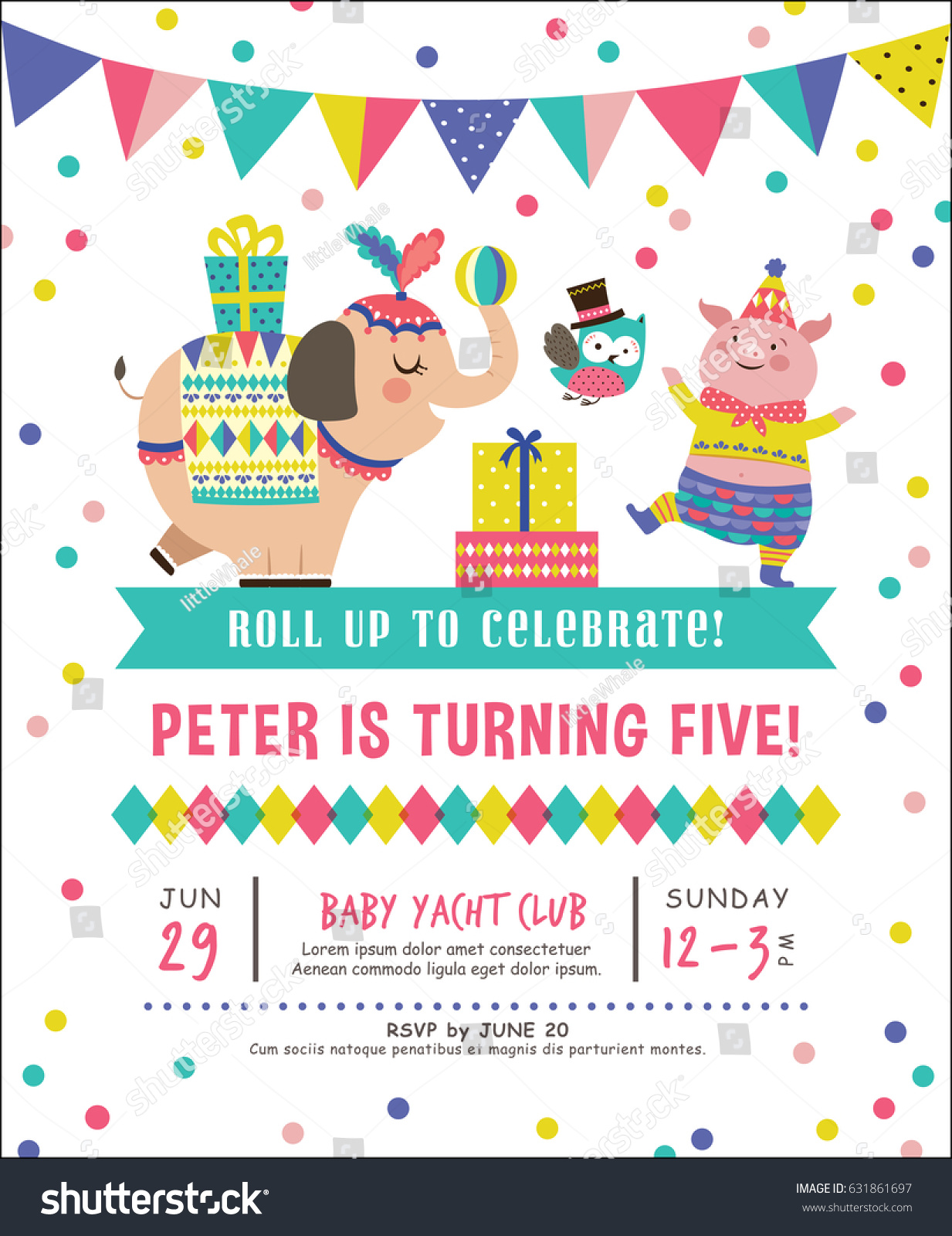 Kids Birthday Party Invitation Card Circus Stock Vector 631861697 ...