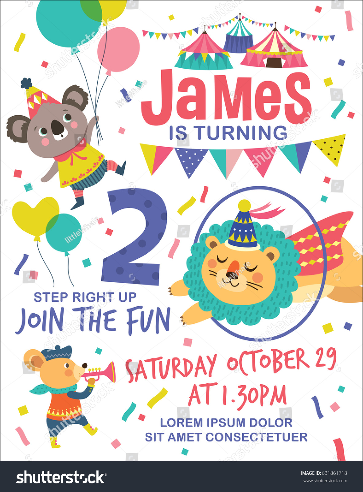Kids Birthday Party Invitation Card Circus Vector 631861718 – Kids Birthday Party Invites