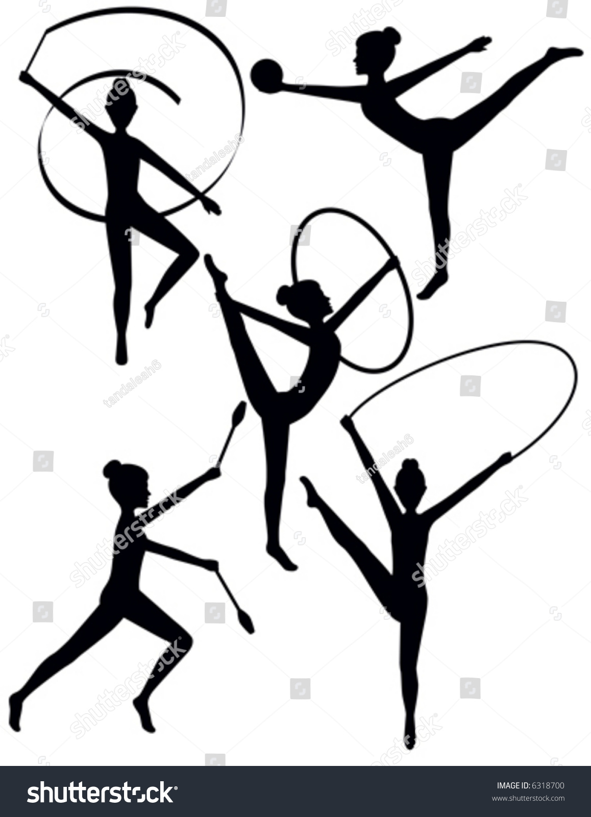 vector rhythmic gymnast silhouettes the ribbon hoop clubs and jump rope are separate