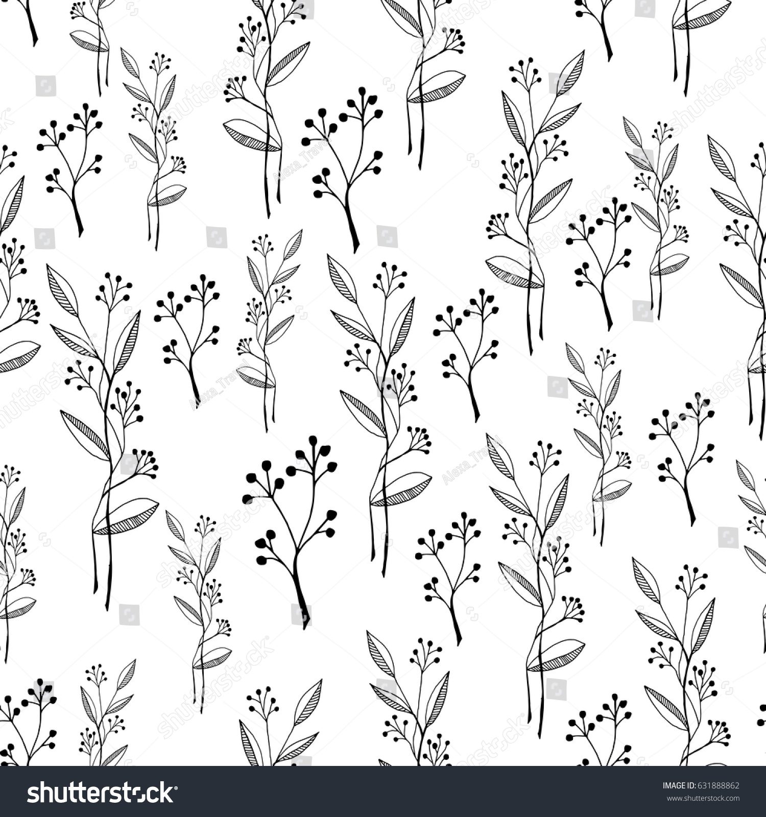 Pattern Cute Black White Hand Drawn Stock Vector Royalty Free