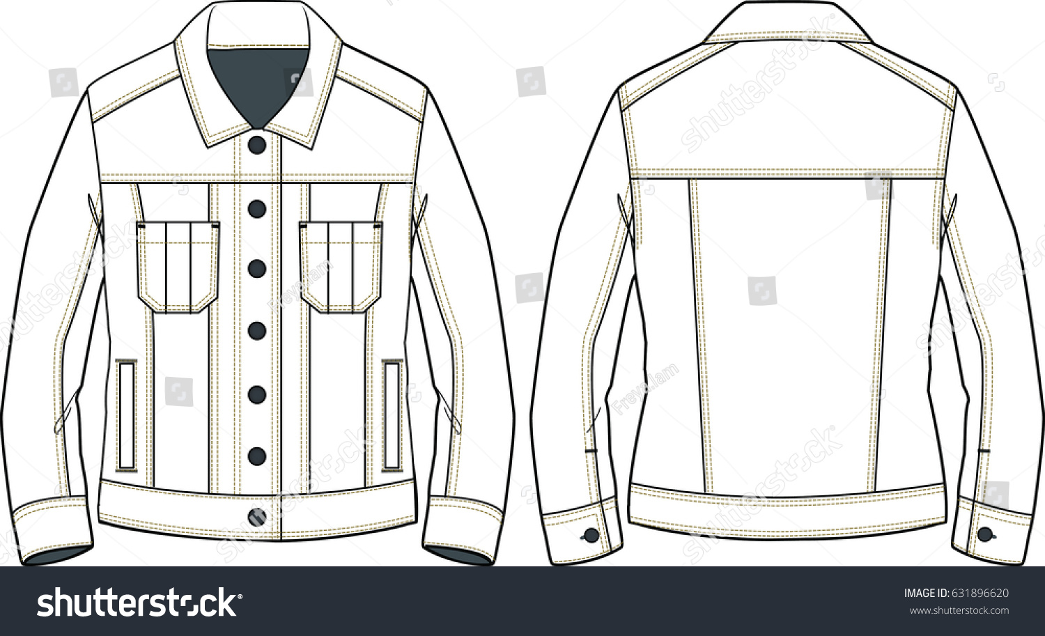 Womens Denim Jacket Sketch Detail Technical Stock Vector Royalty