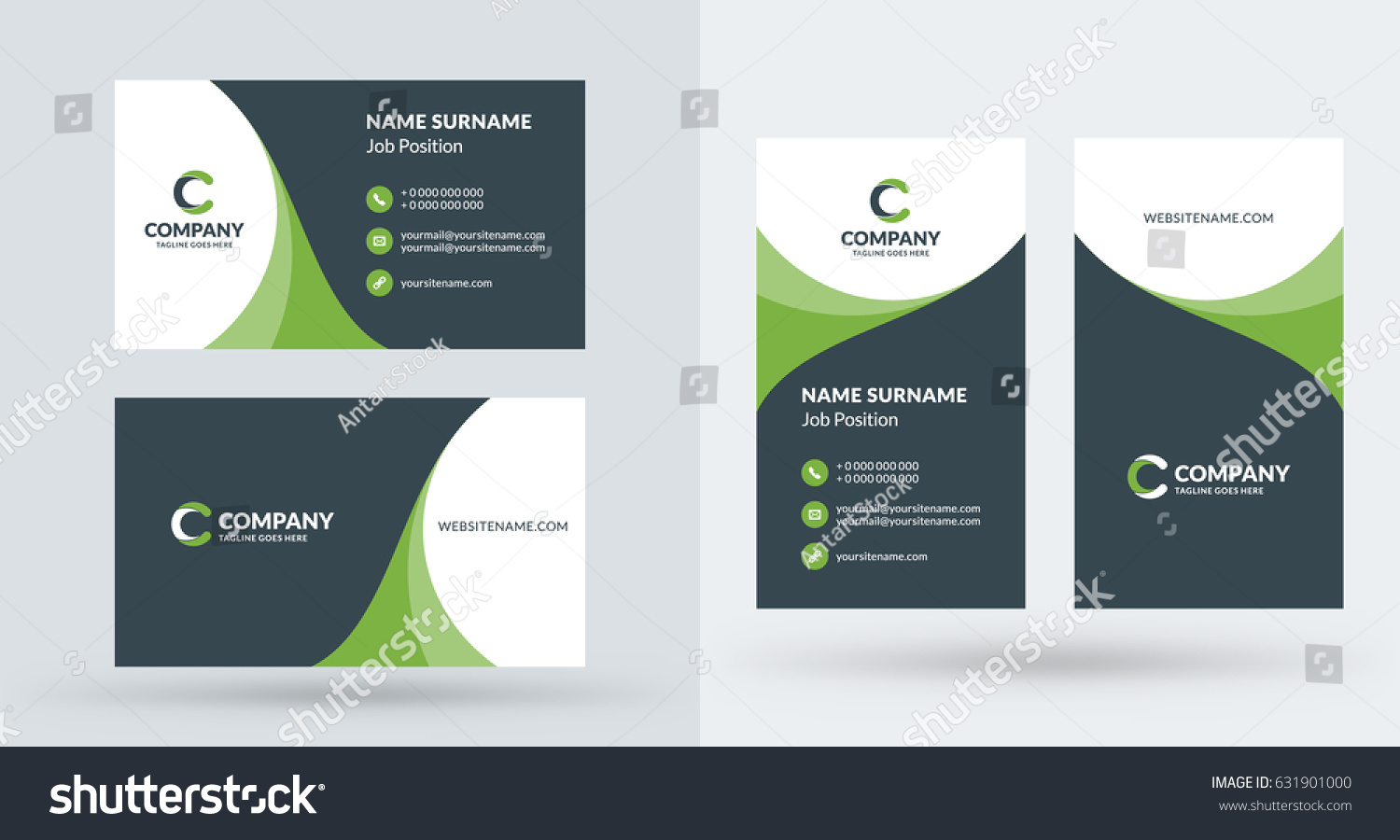 Doublesided Creative Business Card Template Portrait Stock Photo ...