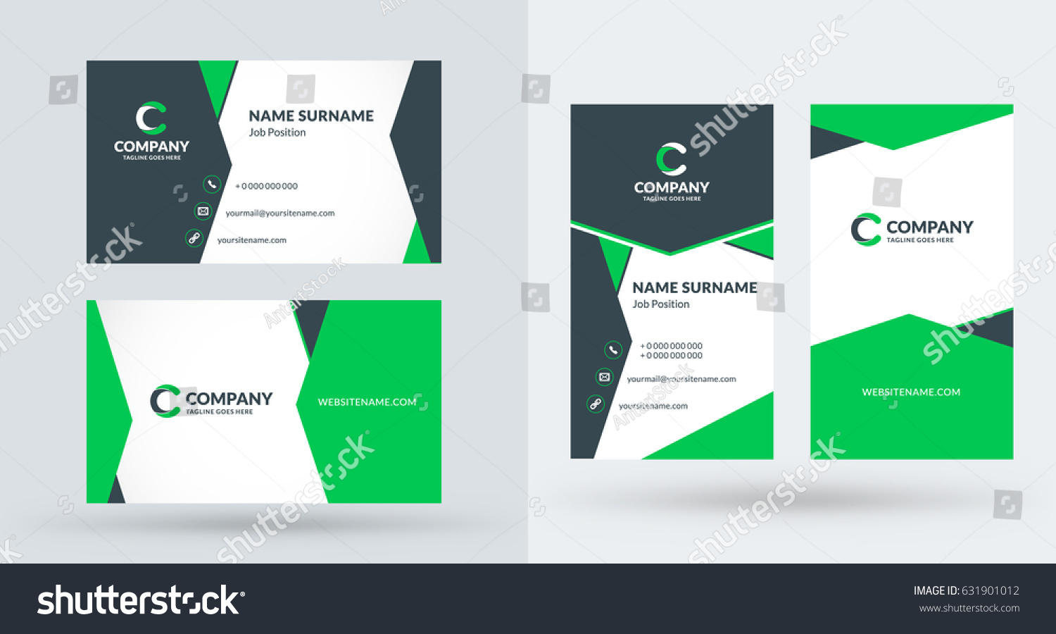 Doublesided creative business card template portrait stock vector double sided creative business card template portrait and landscape orientation horizontal and vertical flashek Image collections
