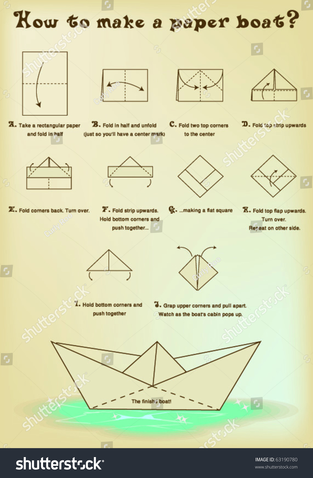 How make paper boat stock vector 63190780 shutterstock for How to make a house step by step