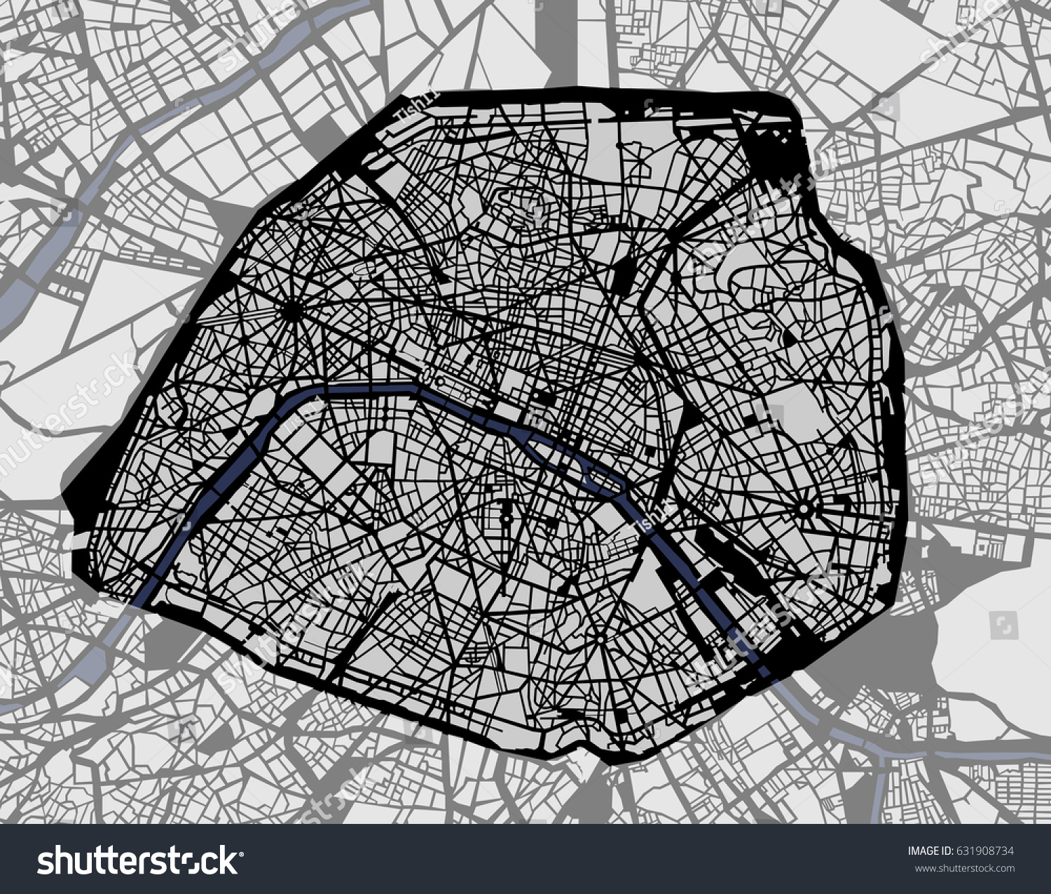 vector map of the city of paris france