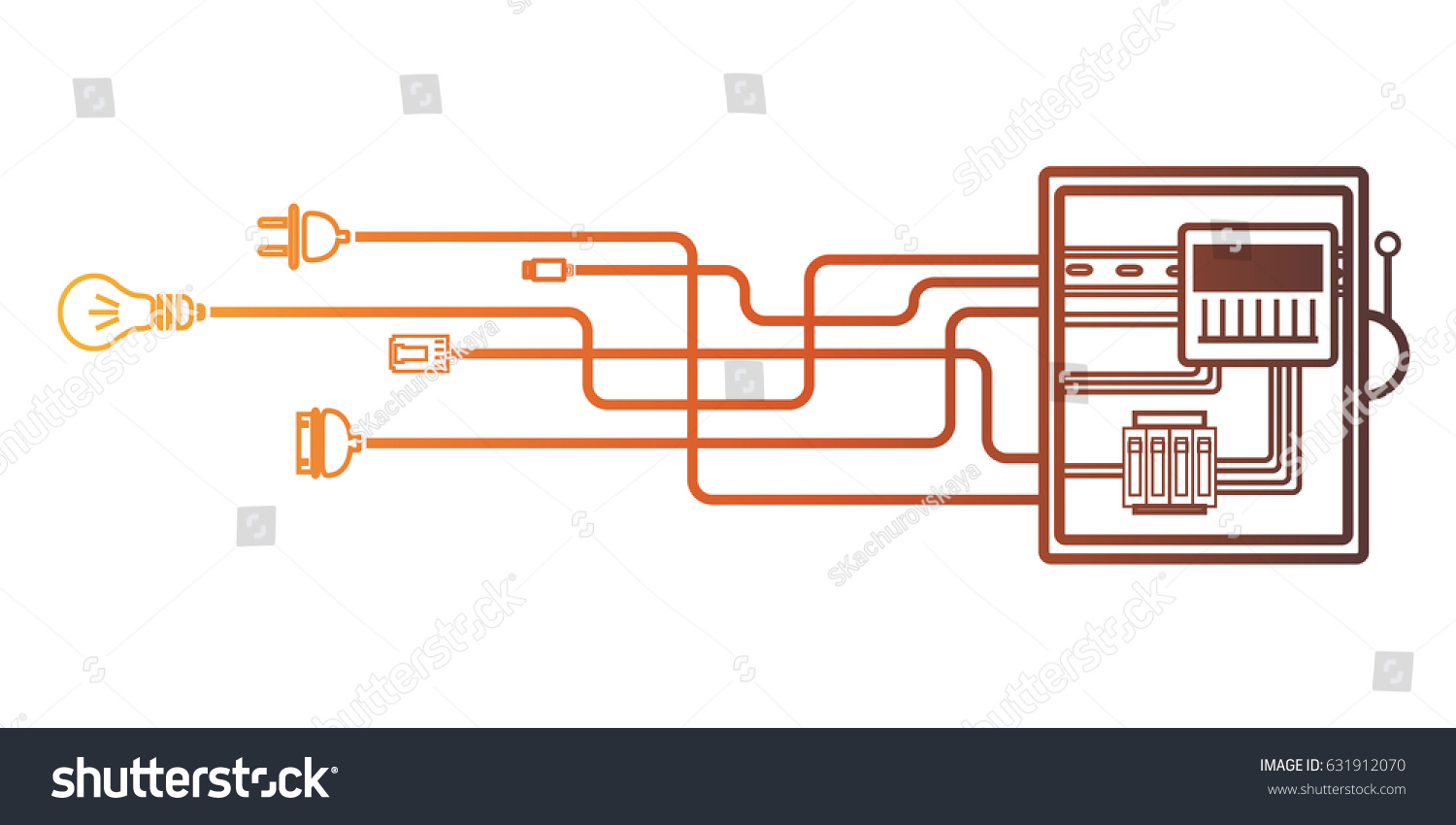 Electrical Panel Switch Wires Electric Meter Stock Vector Royalty Box Wiring Diagram With In On White Background