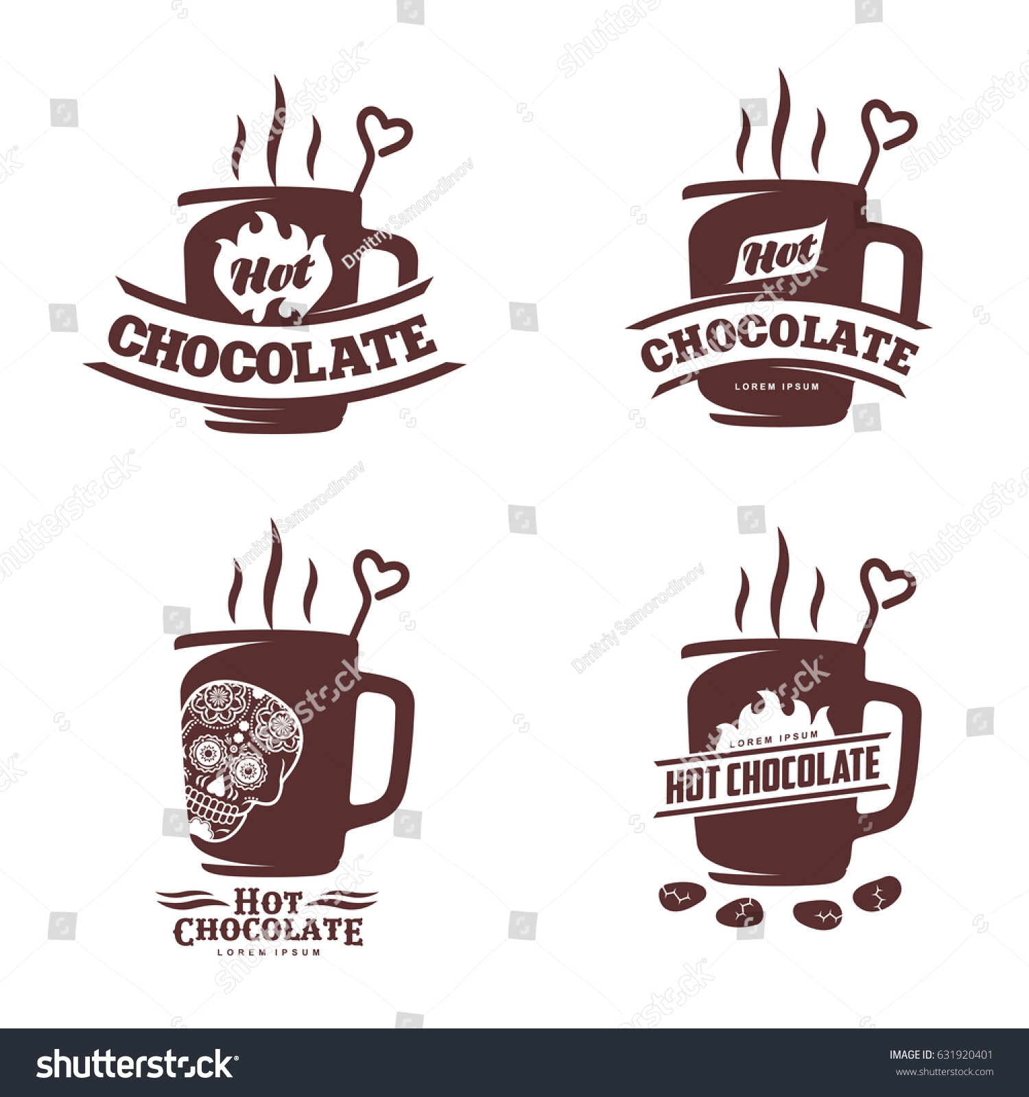 Vector Set Logo Template Hot Chocolate Stock Vector
