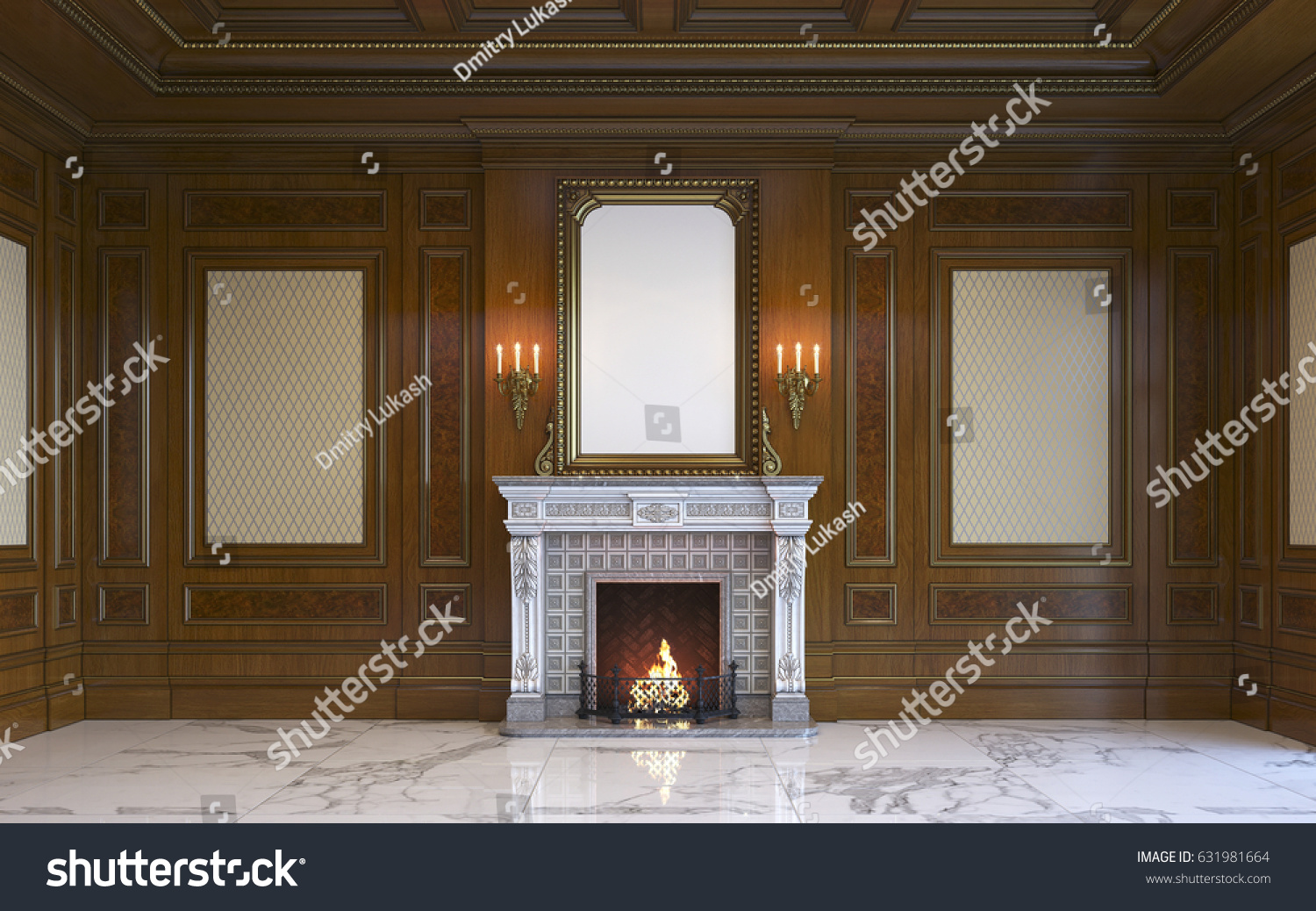 Classic Interior Wood Paneling Picture Frame Stock Illustration ...