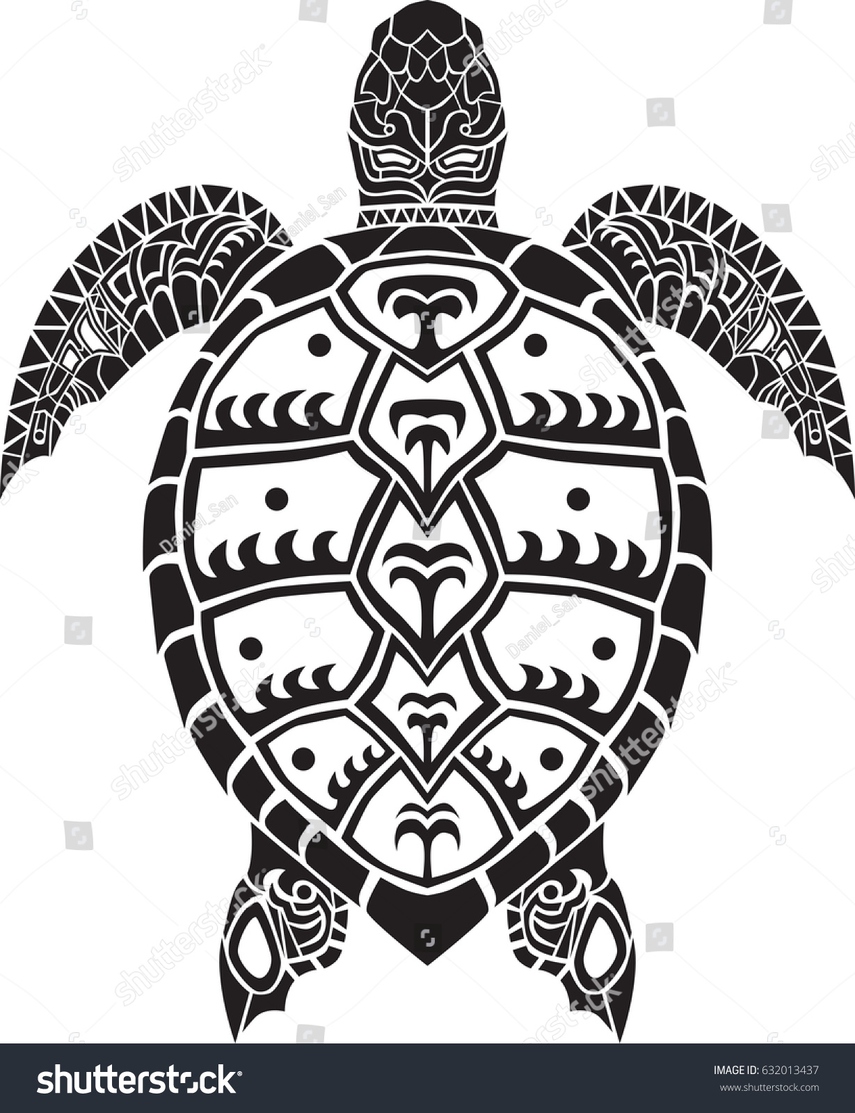 Sea Turtle Animal Isolated Vector Decal Stock Vektorgrafik