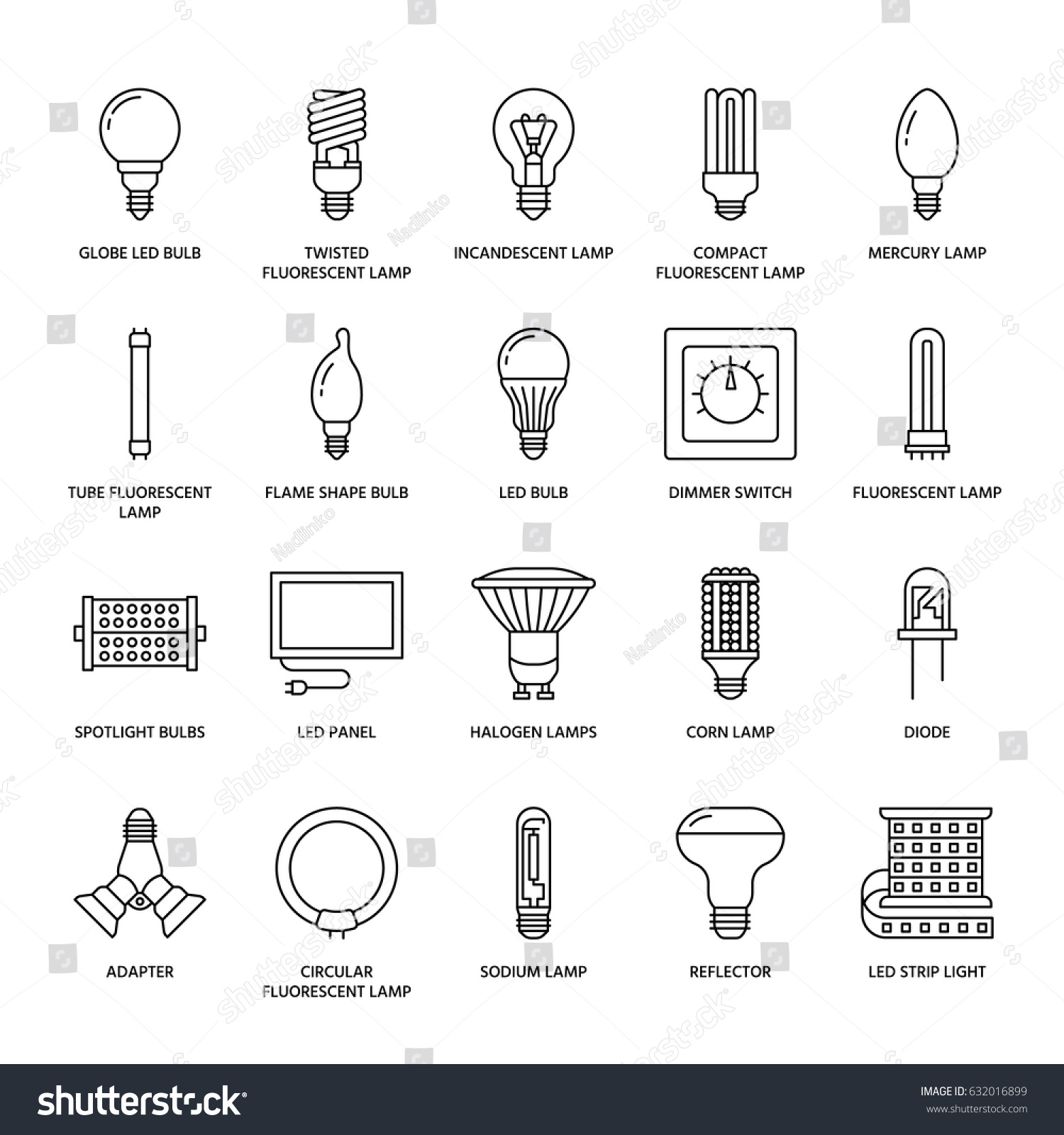 Light Bulbs Flat Line Icons Led Stock Vector 632016899