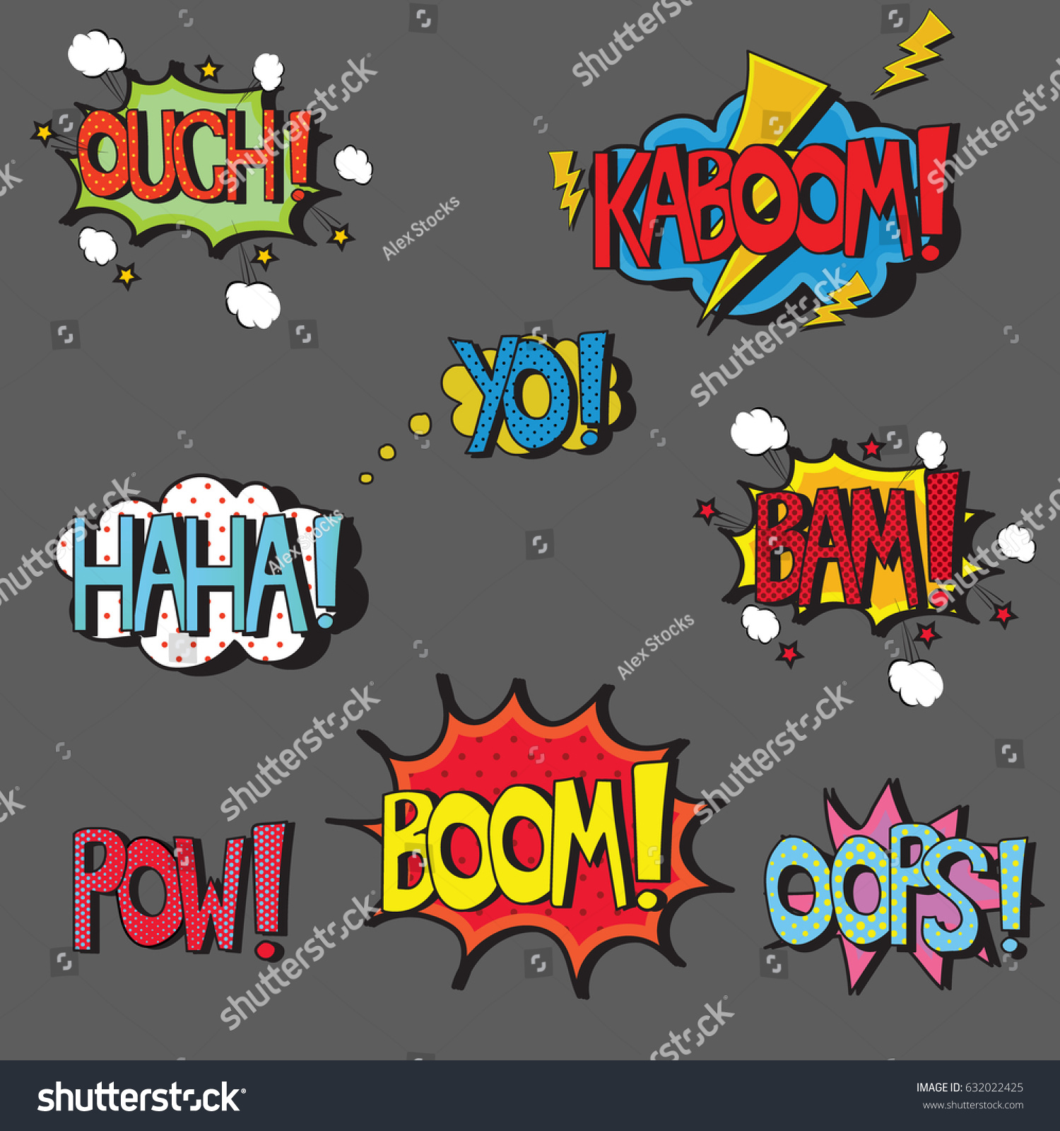 Color art words - Set Of Comic Style Pop Art Words In Speech Bubbles Isolated Vector Phrases Sound