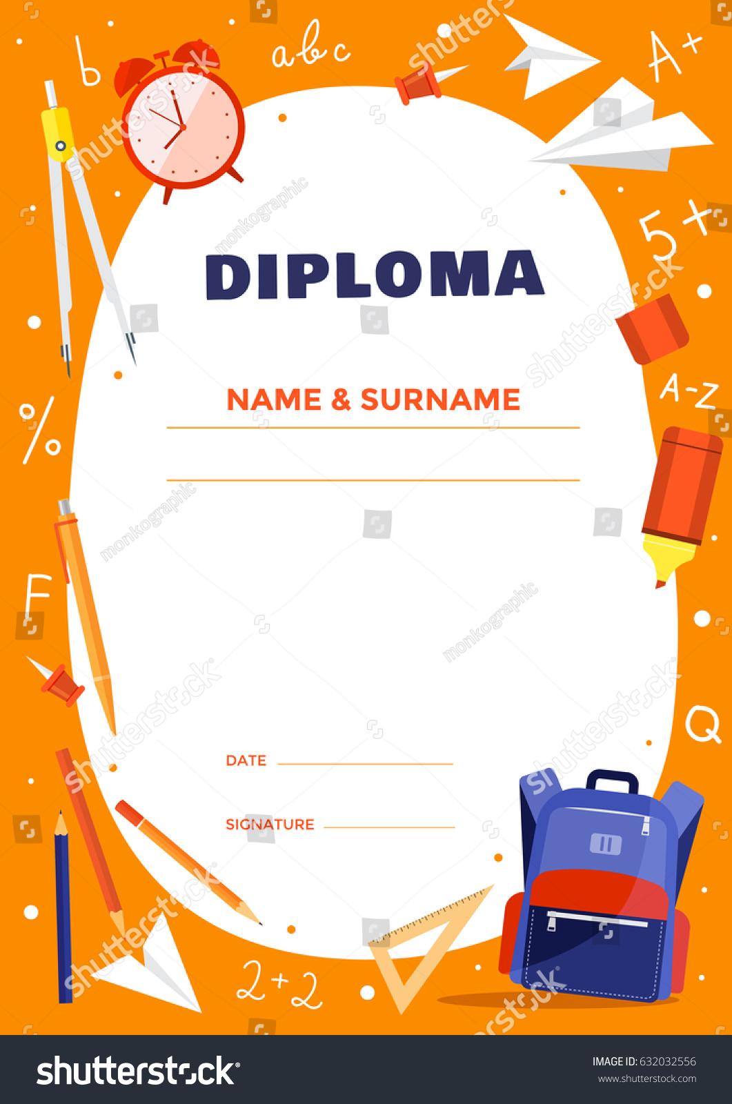 diploma template school elementary school kids stock vector  diploma template for school or elementary school kids colorful school objects backpack dividers