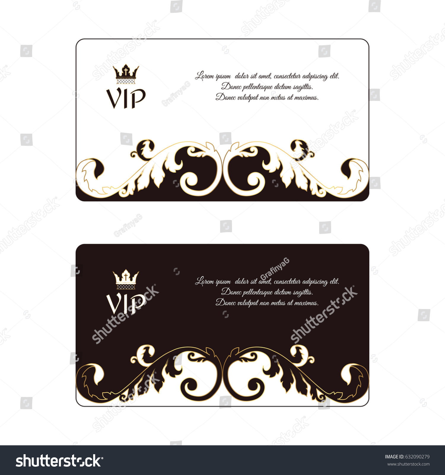 Set Two Elegant Horizontal Business Cards Stock Vector Royalty Free