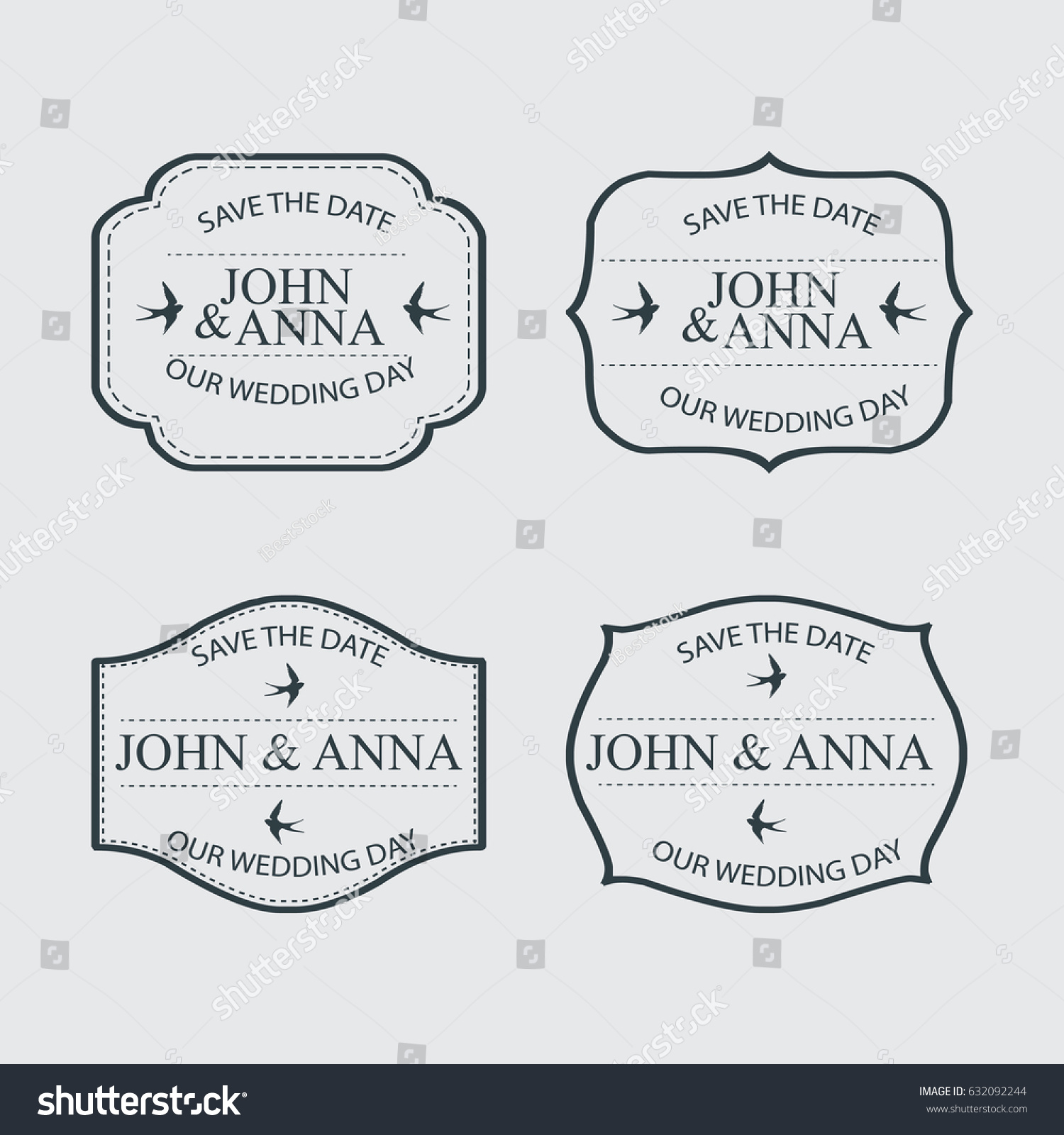 vintage wedding labels design stock vector royalty free 632092244