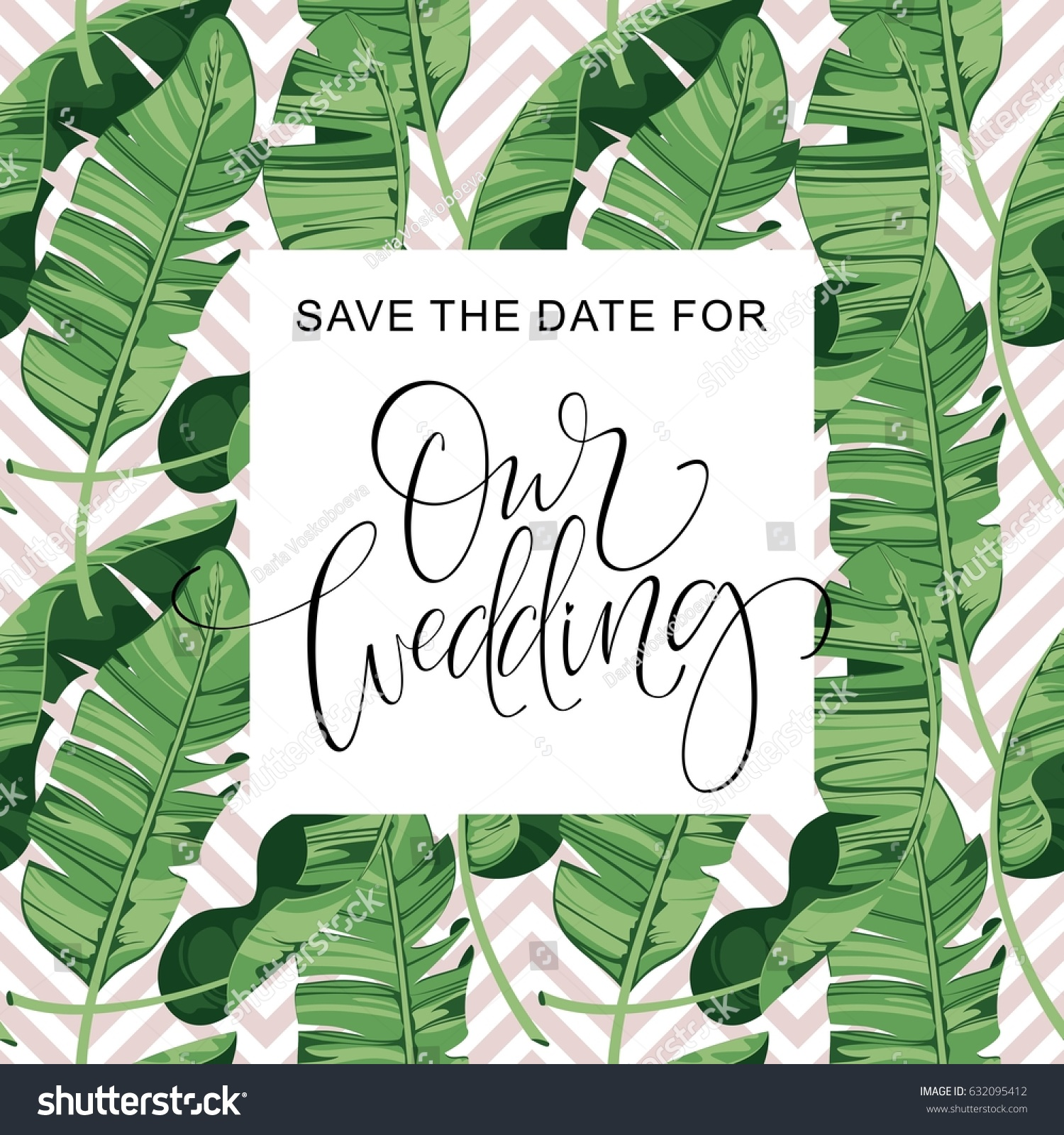 Wedding Invitation Card Tropical Flowers Background Stock Vector