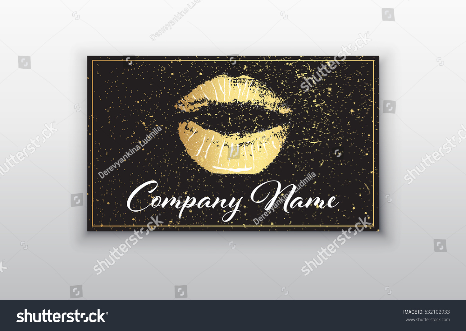 Makeup artist business card business cards stock vector 632102933 makeup artist business card business cards template with gold lips print and black brush magicingreecefo Images