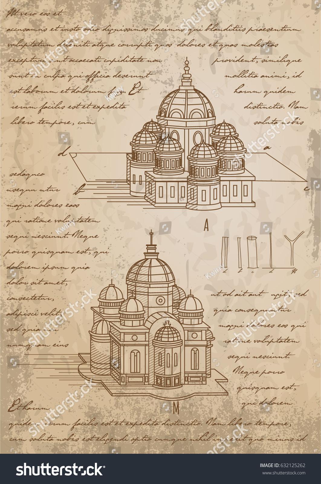 Leonardo Da Vinci Basilica Sketch Vector Stock-Vektorgrafik ...