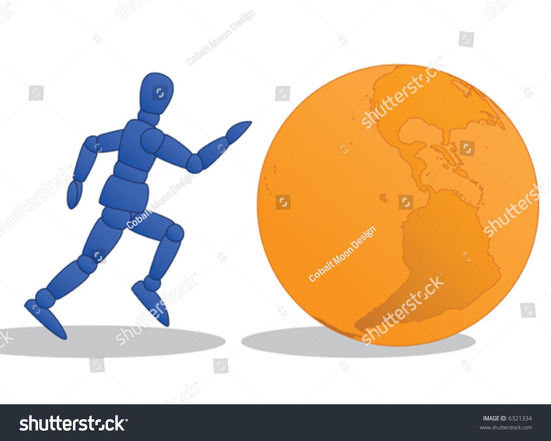 Little Man Running Orange Globe Stock Vector (Royalty Free