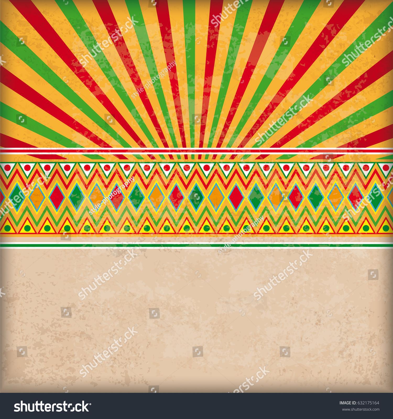 Vintage Background Mexican Ornaments Retro Sun Stock Vector (2018 ...