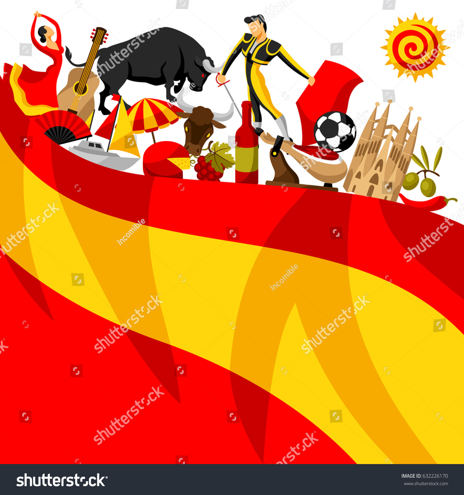 Spain background design spanish traditional symbols stock vector spain background design spanish traditional symbols and objects voltagebd Gallery
