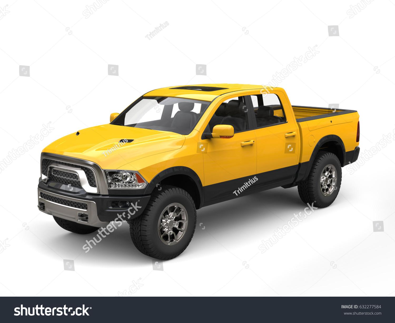 Construction Yellow Modern Pickup Truck 3d Stock Illustration ...