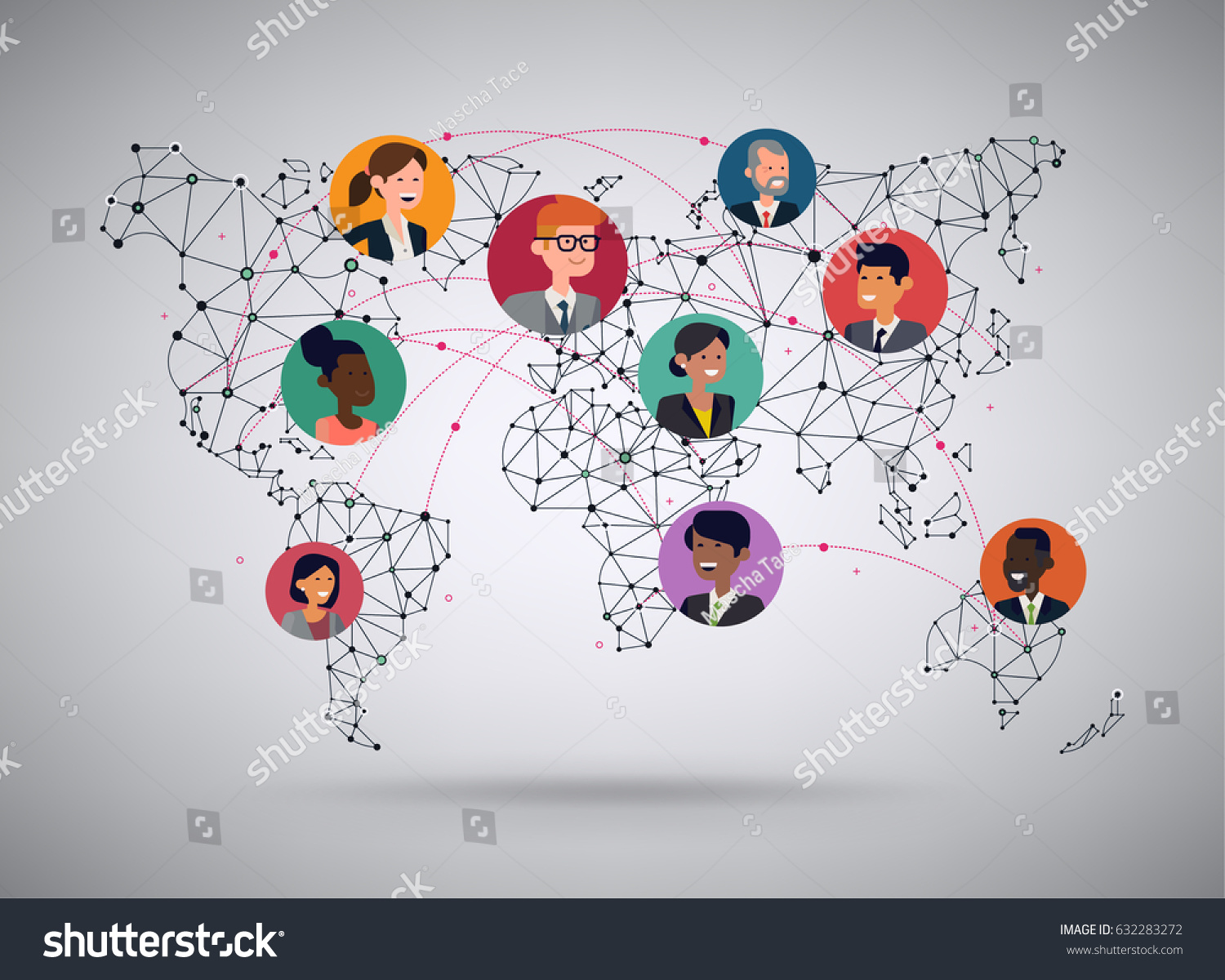 Vector wireframe mesh polygonal world map vectores en stock vector wireframe mesh polygonal world map with various flat design character portraits global business network gumiabroncs Gallery