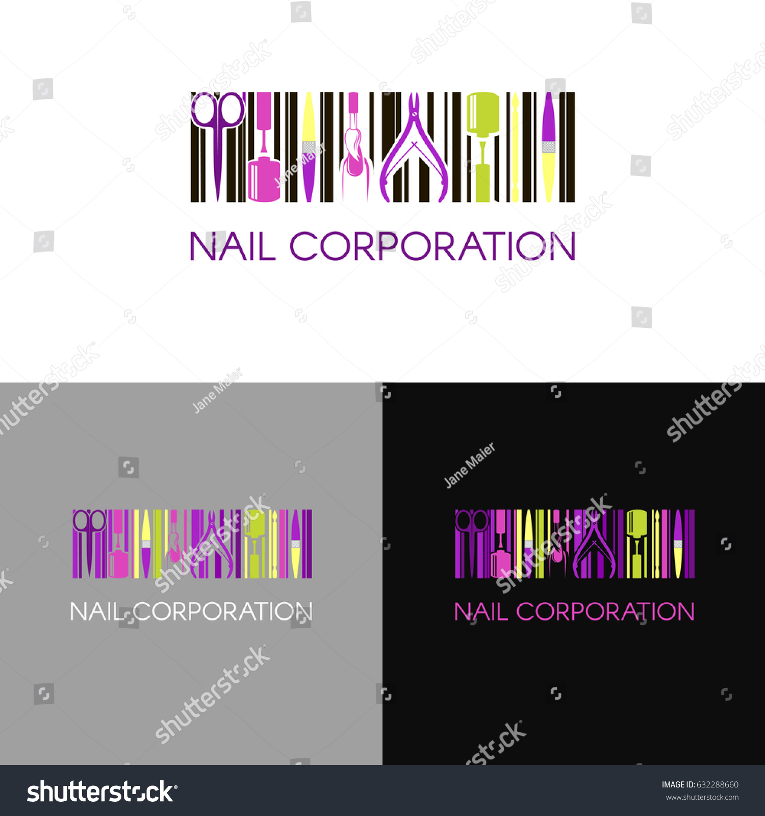 Vector logo nail design company business stock vector 632288660 vector logo for nail design company with business name card and corporate pattern in geometric style magicingreecefo Choice Image