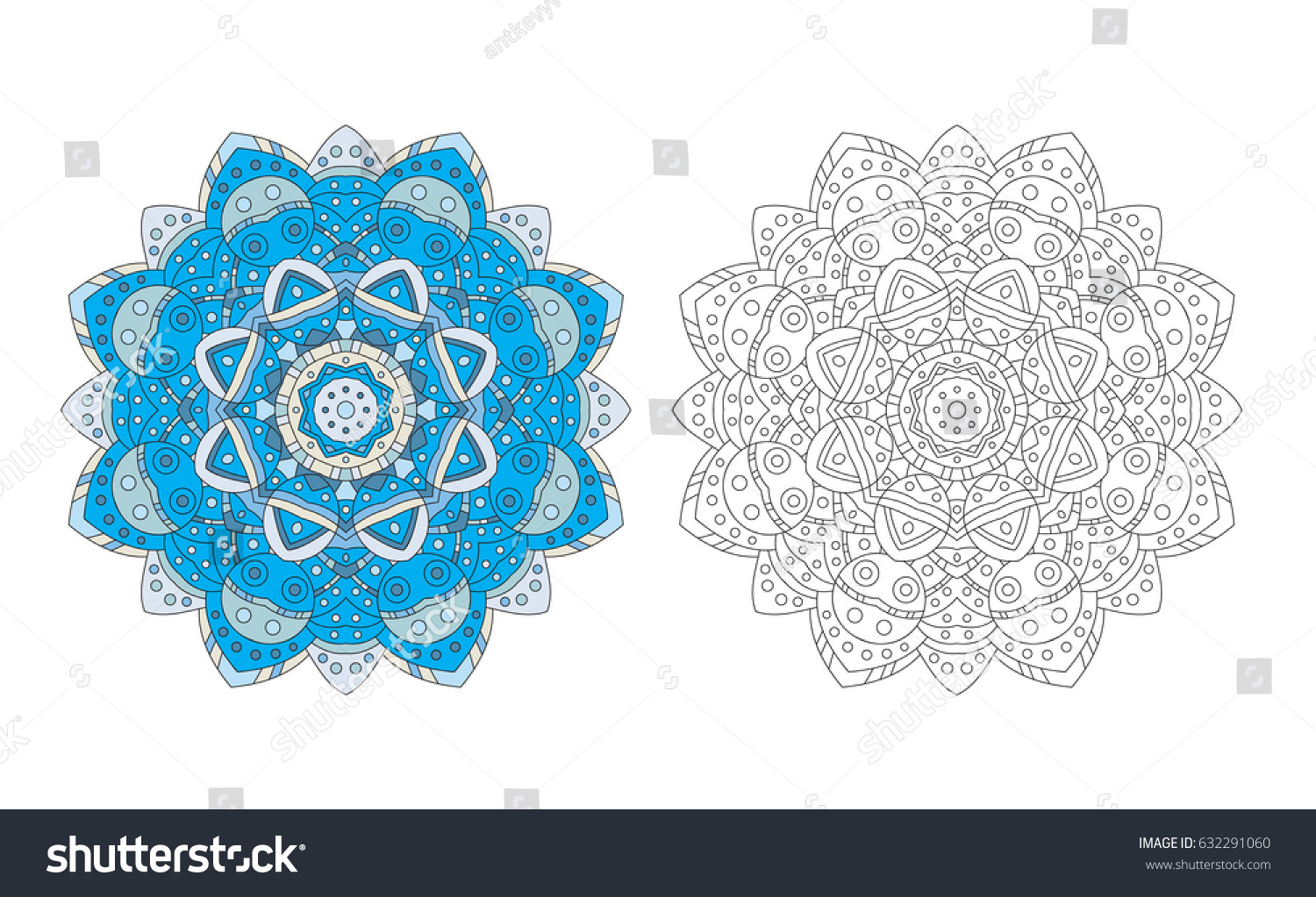 Mandala Zentangle Coloring Page Antistress Adult Stock Vector