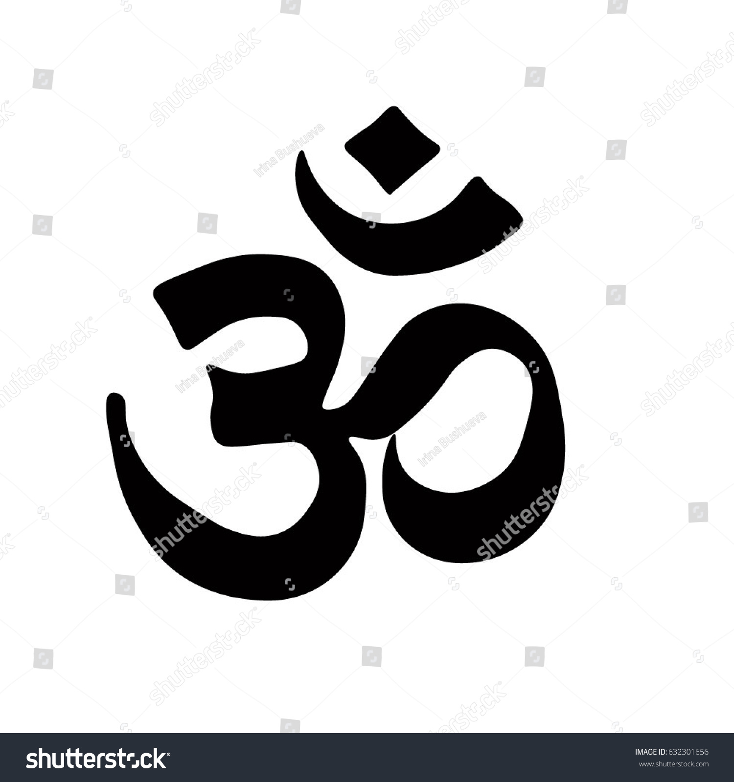 Buddhist Symbol Ohm Vector Black On Stock Vector Royalty Free