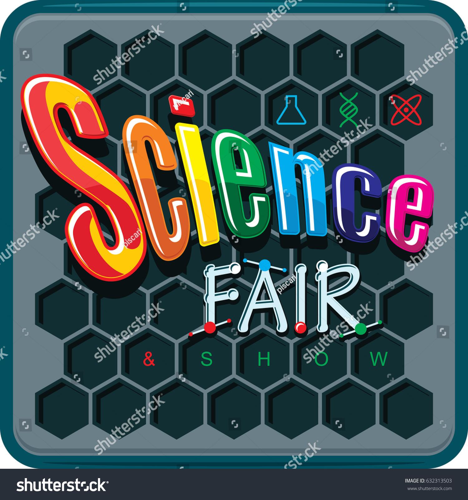 Science Fair Card Design Vector Illustration Stock Vector