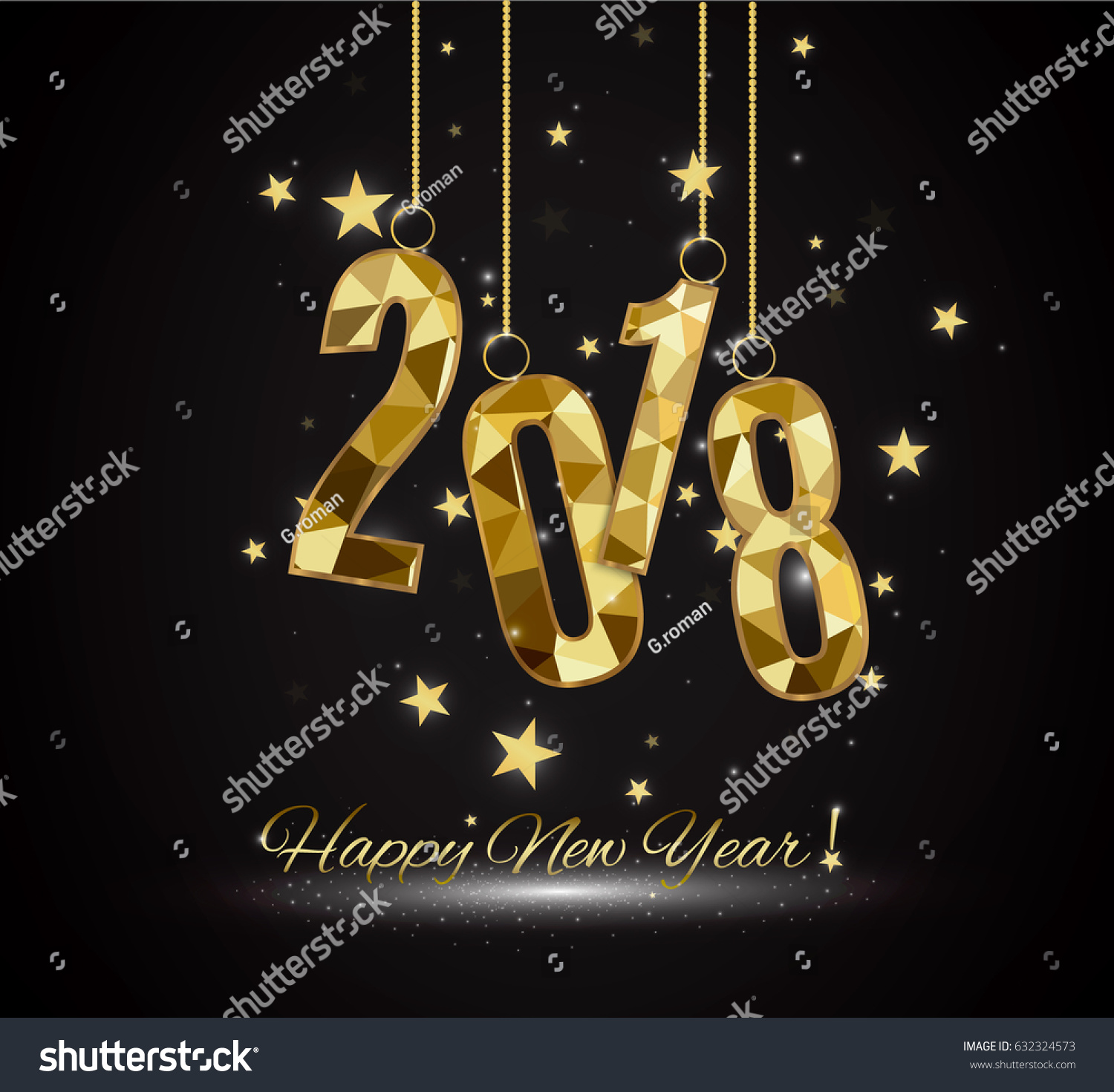 Happy New Year Merry Christmas 2018 Stock Vector 632324573 ...