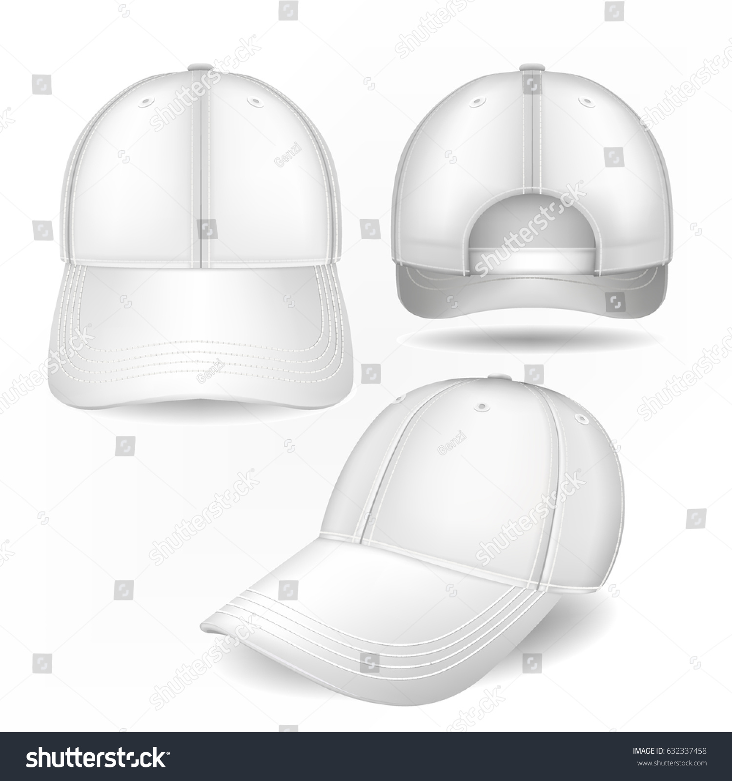 cap mockup front side back views stock vector 632337458 shutterstock. Black Bedroom Furniture Sets. Home Design Ideas