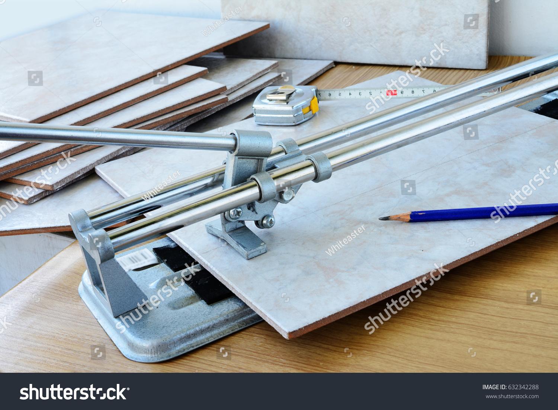 Cutting Ceramic Tiles Manual Tile Cutter Stock Photo Royalty Free
