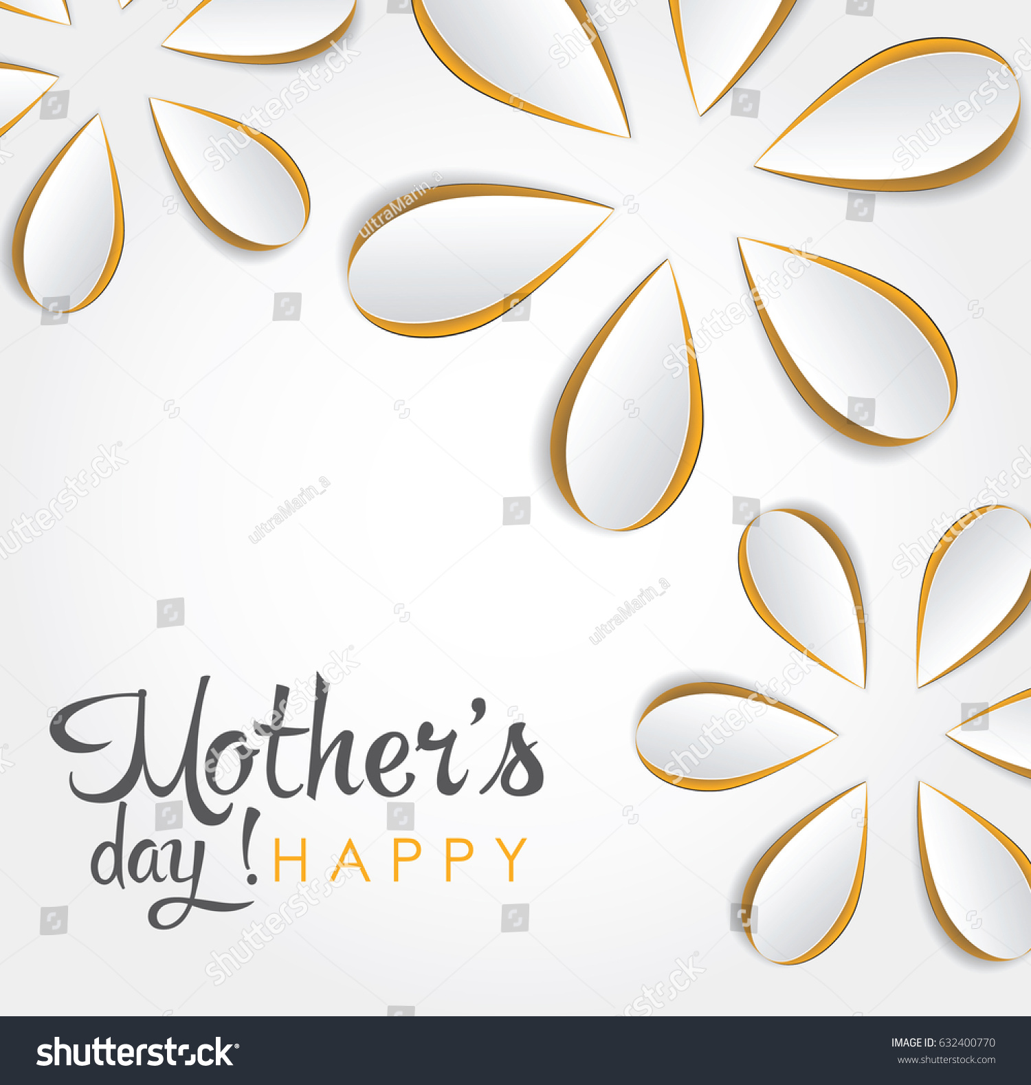 Happy Mothers Day Card Cutout Paper Stock Vector 632400770