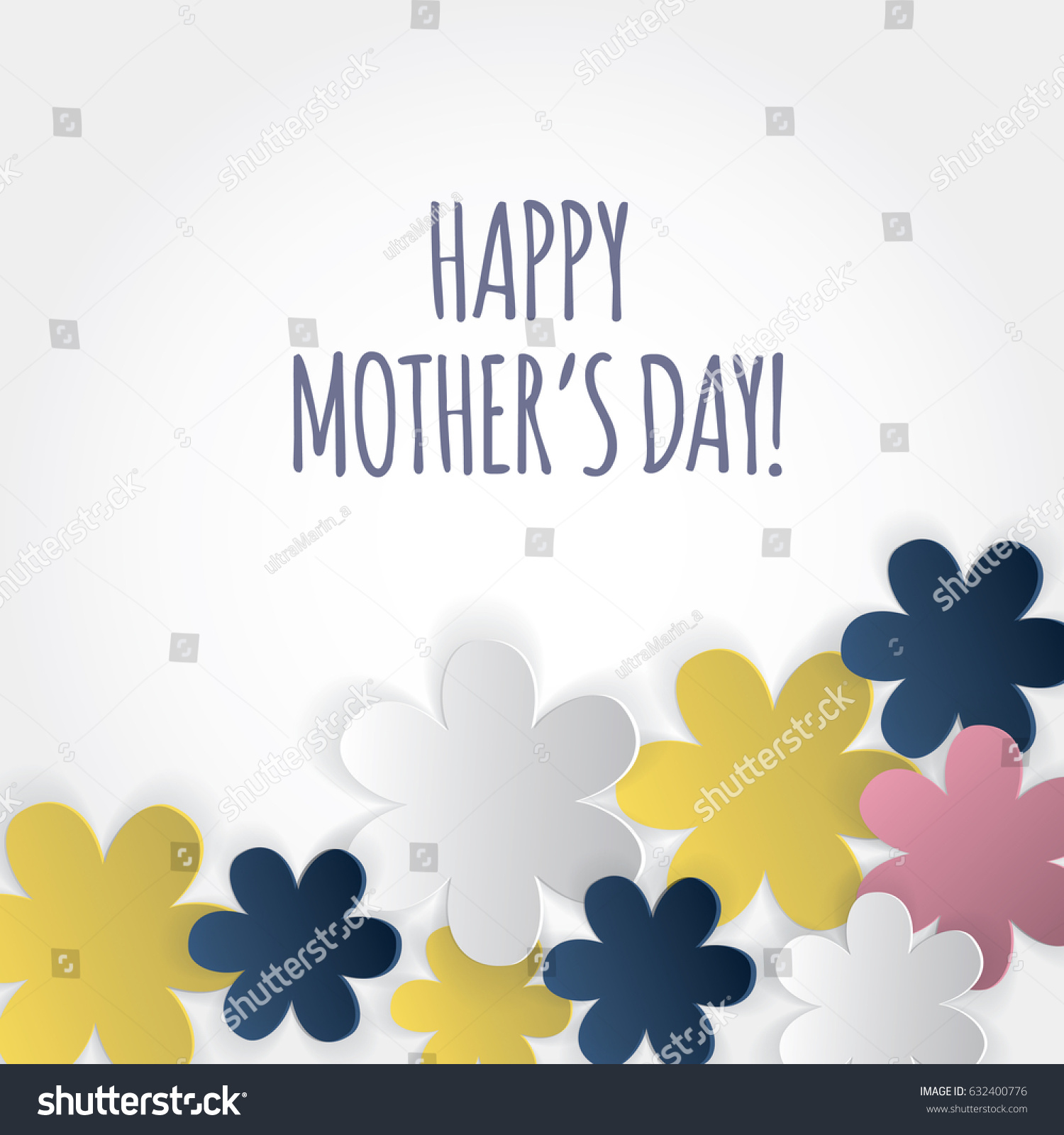 Happy Mothers Day Card Cutout Paper Stock Vector Royalty Free