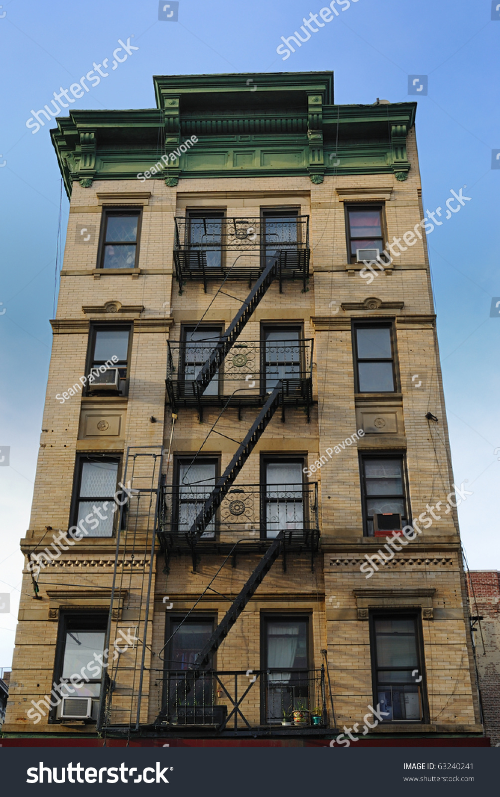 old new york city tenement architecture stock photo 63240241 shutterstock. Black Bedroom Furniture Sets. Home Design Ideas