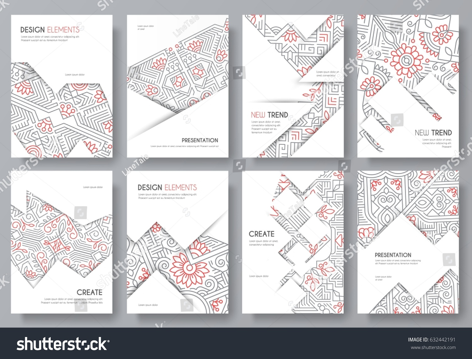Abstract Vector Brochure Cards Set Outline Stock Vector - Unique outline template for presentation concept