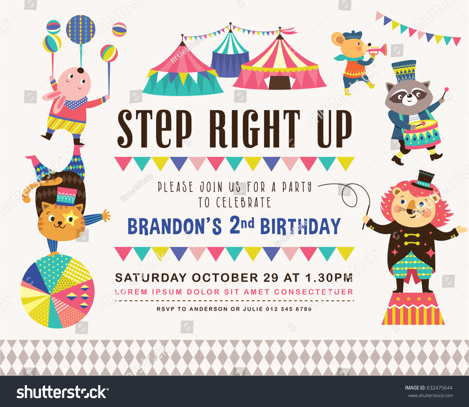 Vetor stock de kids birthday party invitation card circus livre de kids birthday party invitation card with circus theme stopboris Choice Image