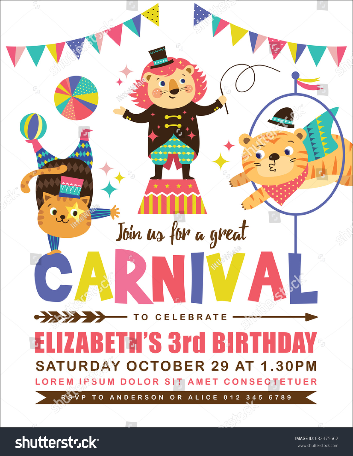 Kids Birthday Party Invitation Card Circus Stock Vector (2018 ...