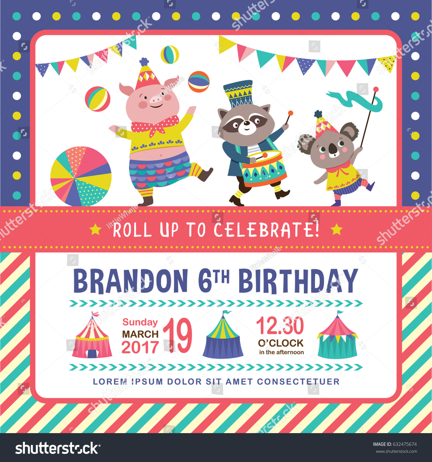 Kids Birthday Party Invitation Card Circus Stock Vector 632475674 ...