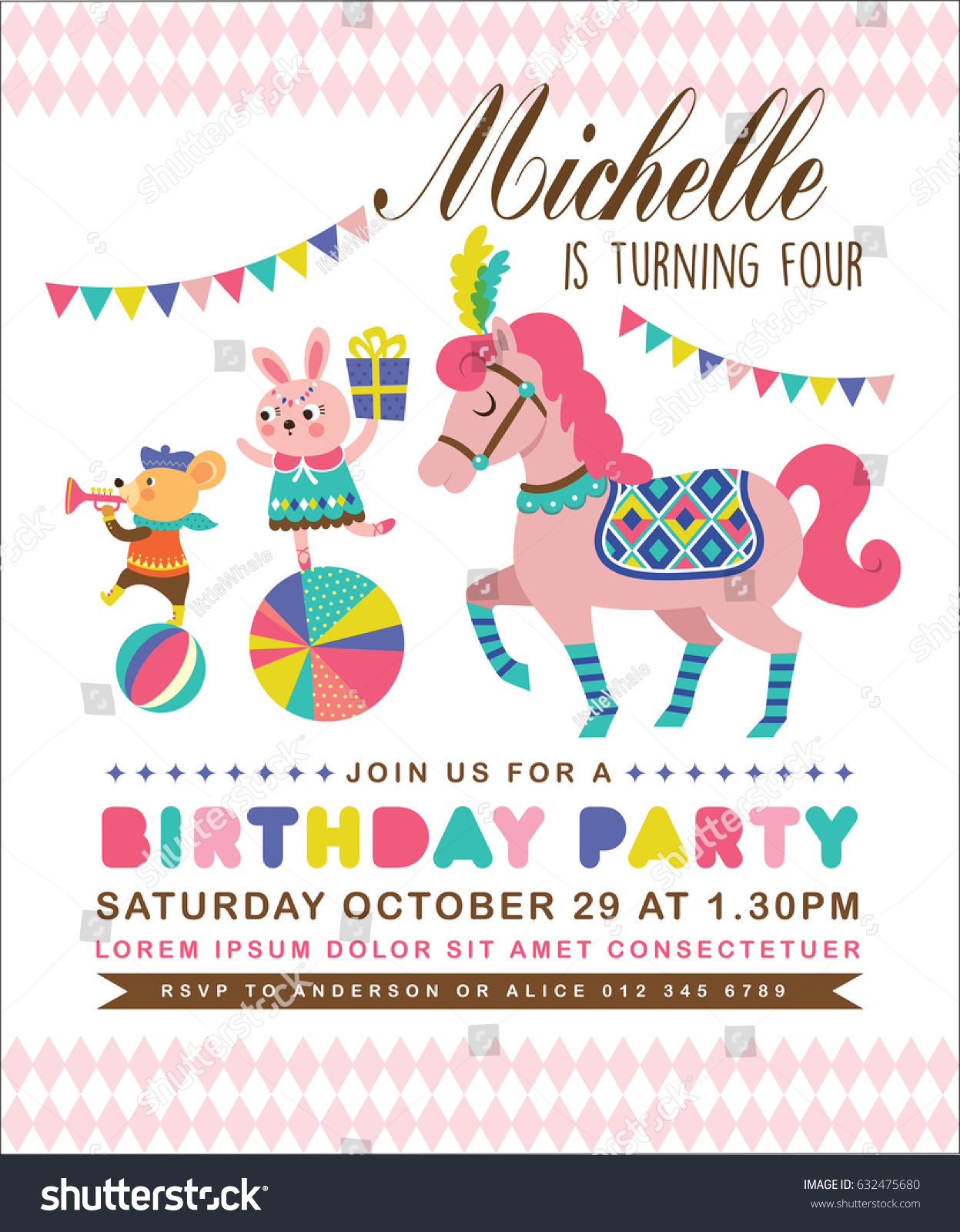 Kids Birthday Party Invitation Card Circus Stock Vector (Royalty ...