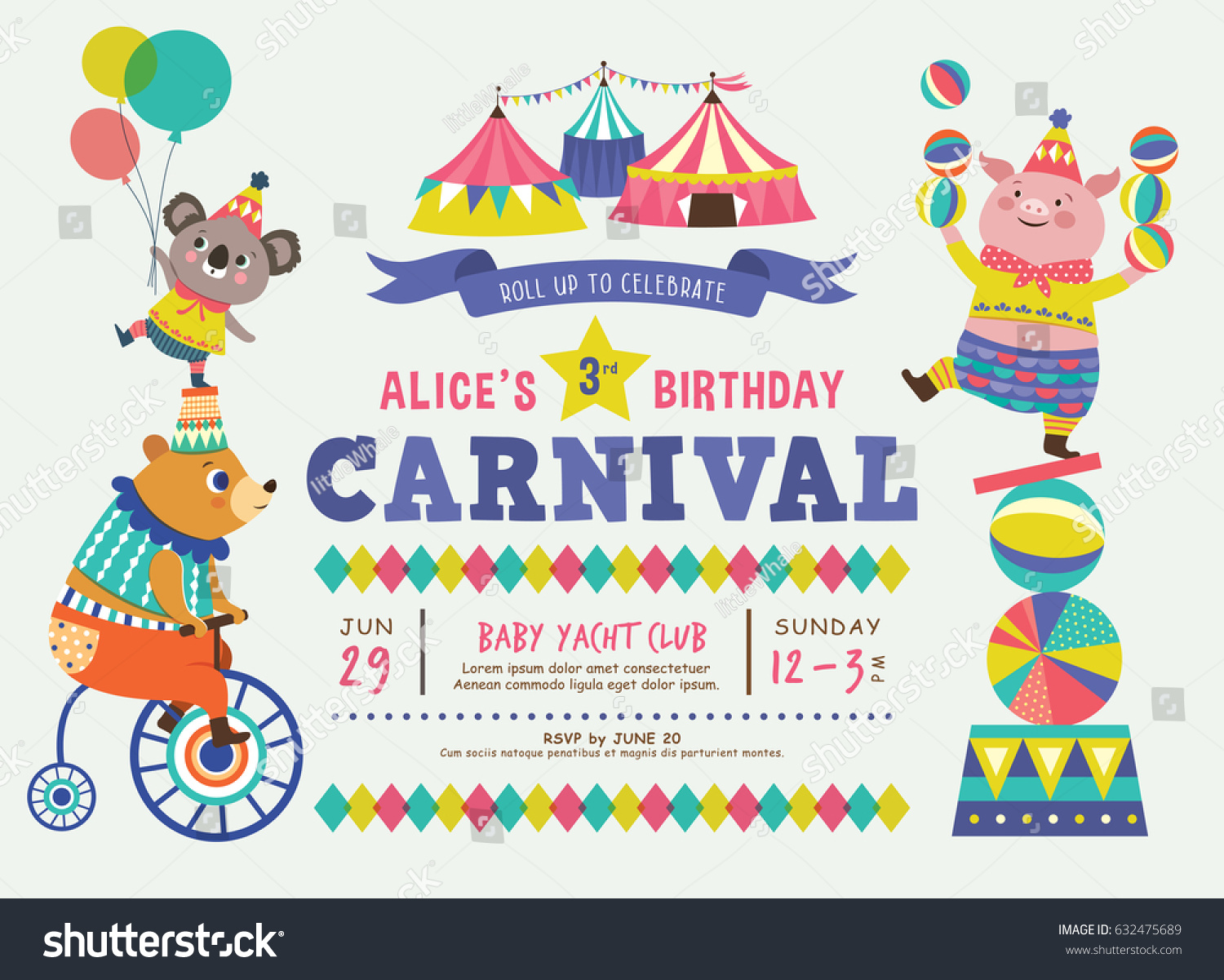 Kids birthday party invitation card circus stock vector 632475689 kids birthday party invitation card with circus theme filmwisefo