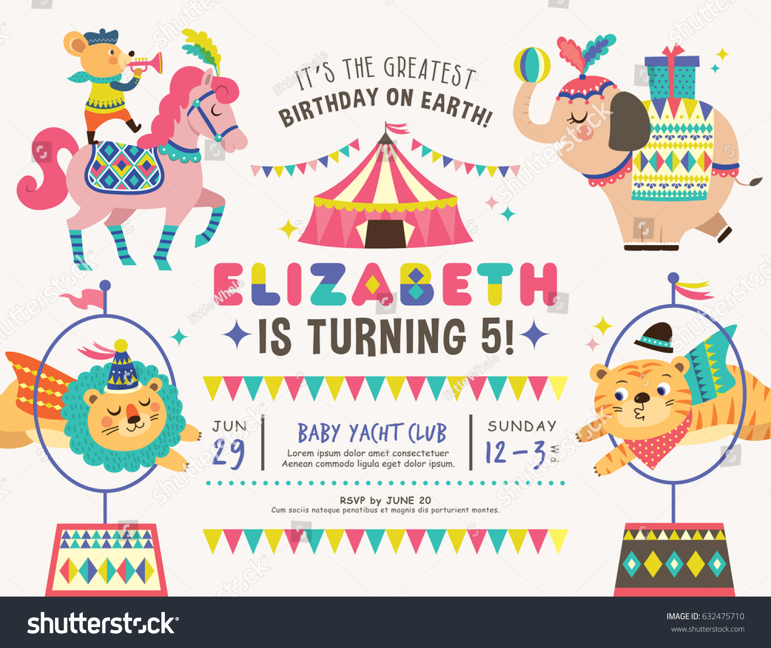 Kids Birthday Party Invitation Card Circus Stock Vector 632475710 ...