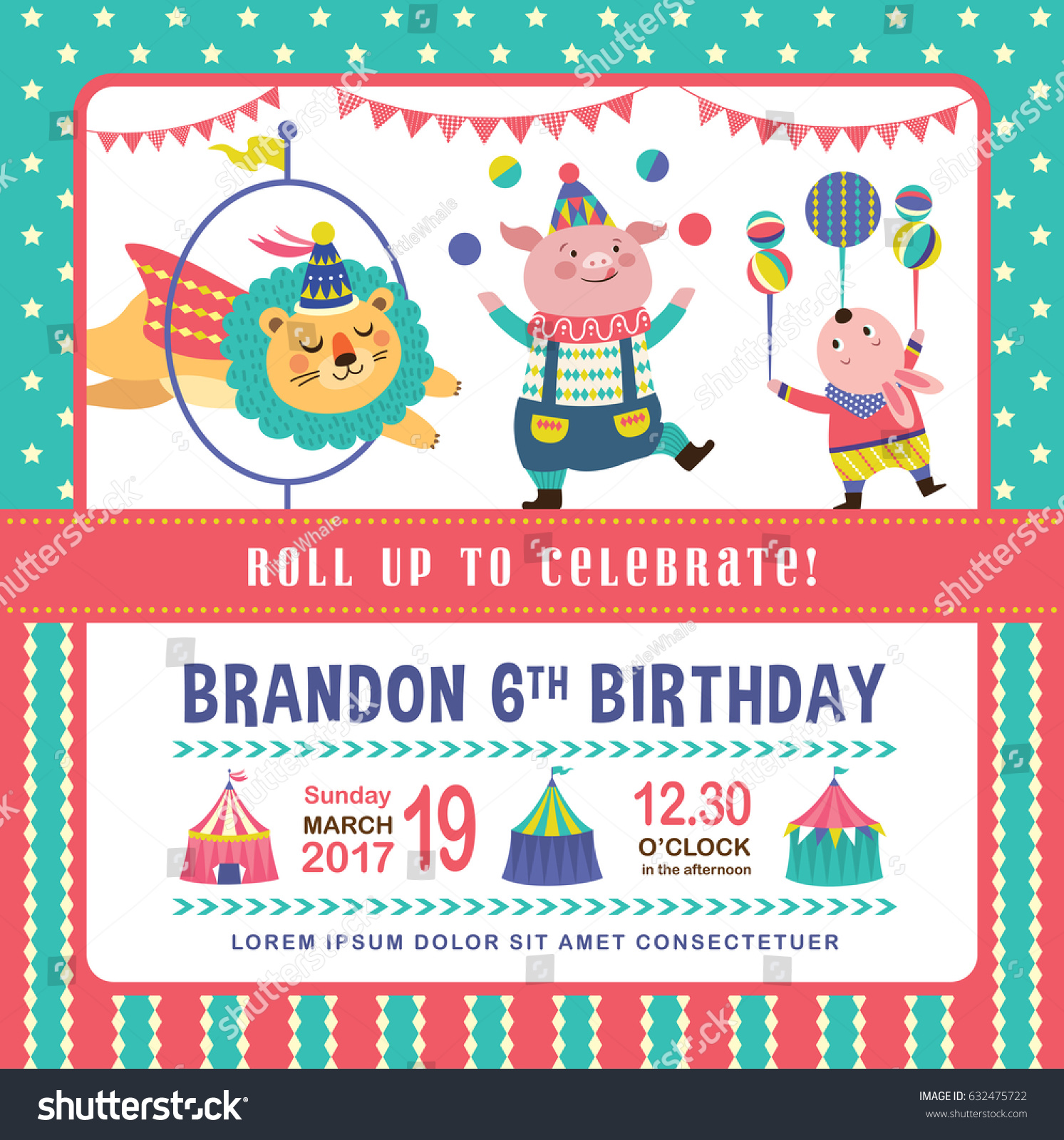 Kids Birthday Party Invitation Card Circus Stock Vector