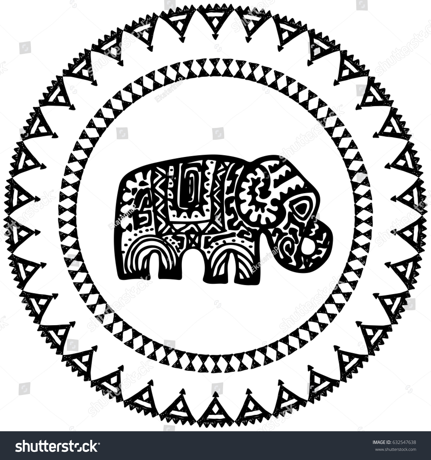 Beautiful Card Elephant Indian Ornaments Round Stock Vector (Royalty ...