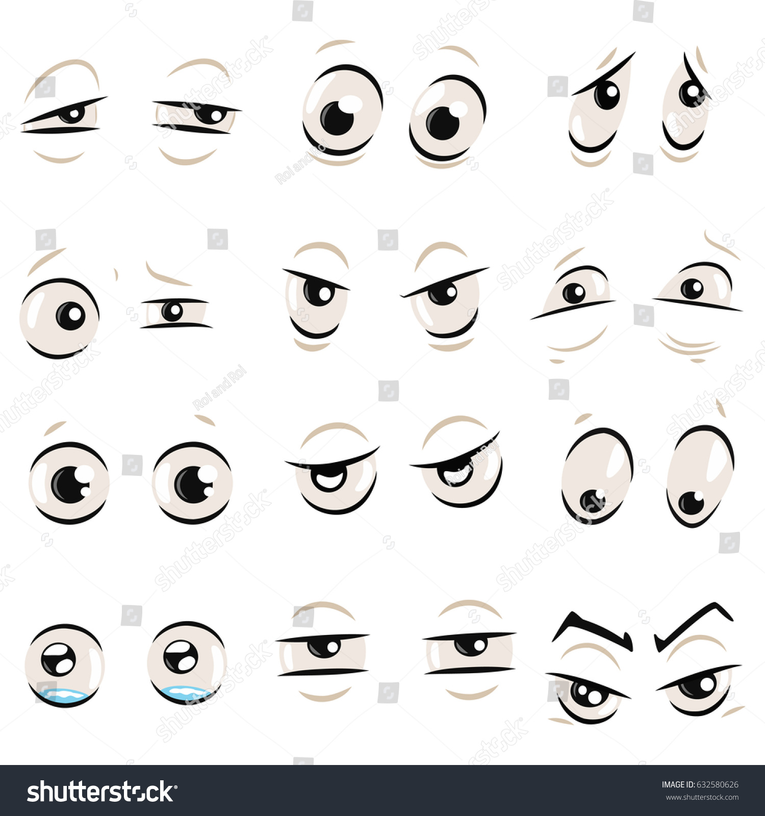 Comic Cartoon Eyes Eyebrows Set Isolated Stock Vector Royalty Free