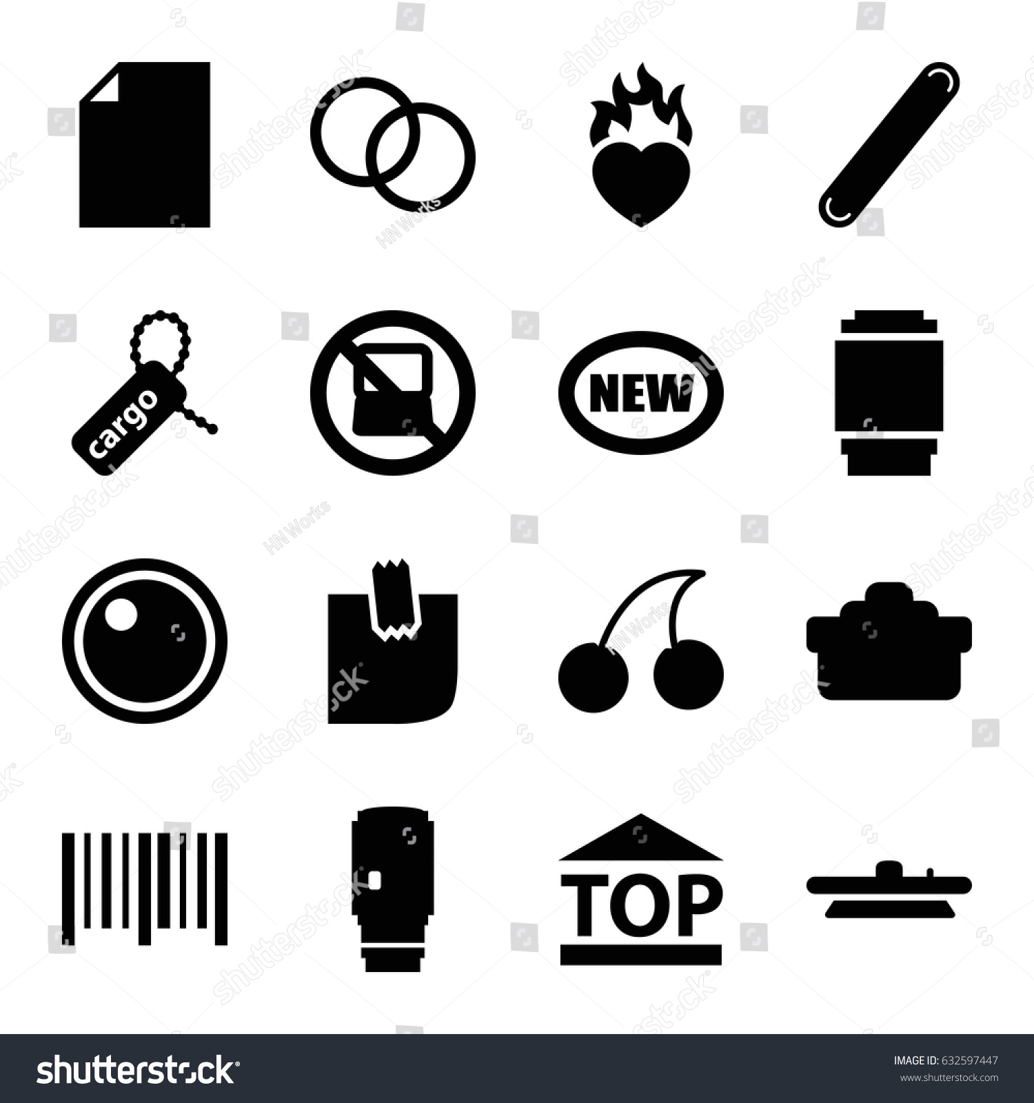 Sticker icons set set 16 sticker stock vector 632597447 shutterstock sticker icons set set of 16 sticker filled icons such as no laptop cherry buycottarizona Choice Image