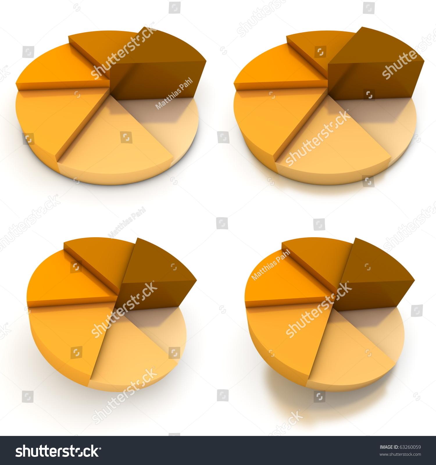 Coloured Pie Chart Six Shades Orangebrown Stock